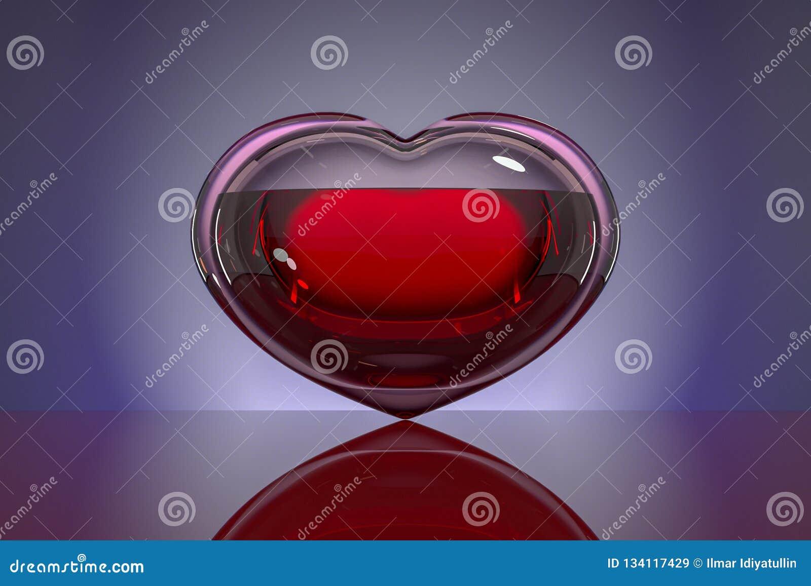 Сердце стекла, заполненное с кровью на темной предпосылке с отражением Концепция: надежда, донорство крови, жизнь, любовь