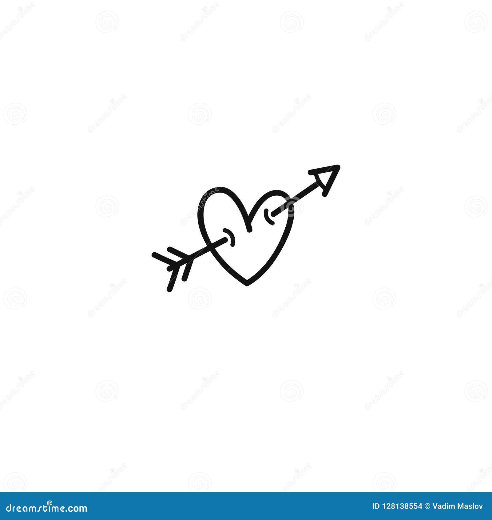 Сердце с значком стрелки нарисованным вручную Линия значок дня валентинок Дротик купидона прокалыванный к сердцу Стрелка купидона