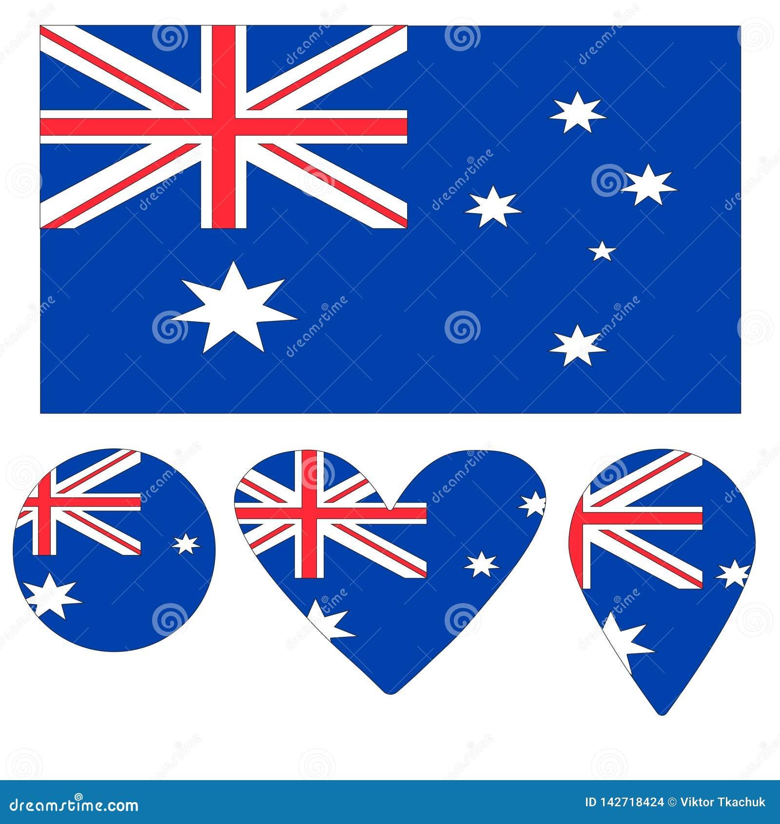 Сердце флага значков австралийское, указатель, шарик