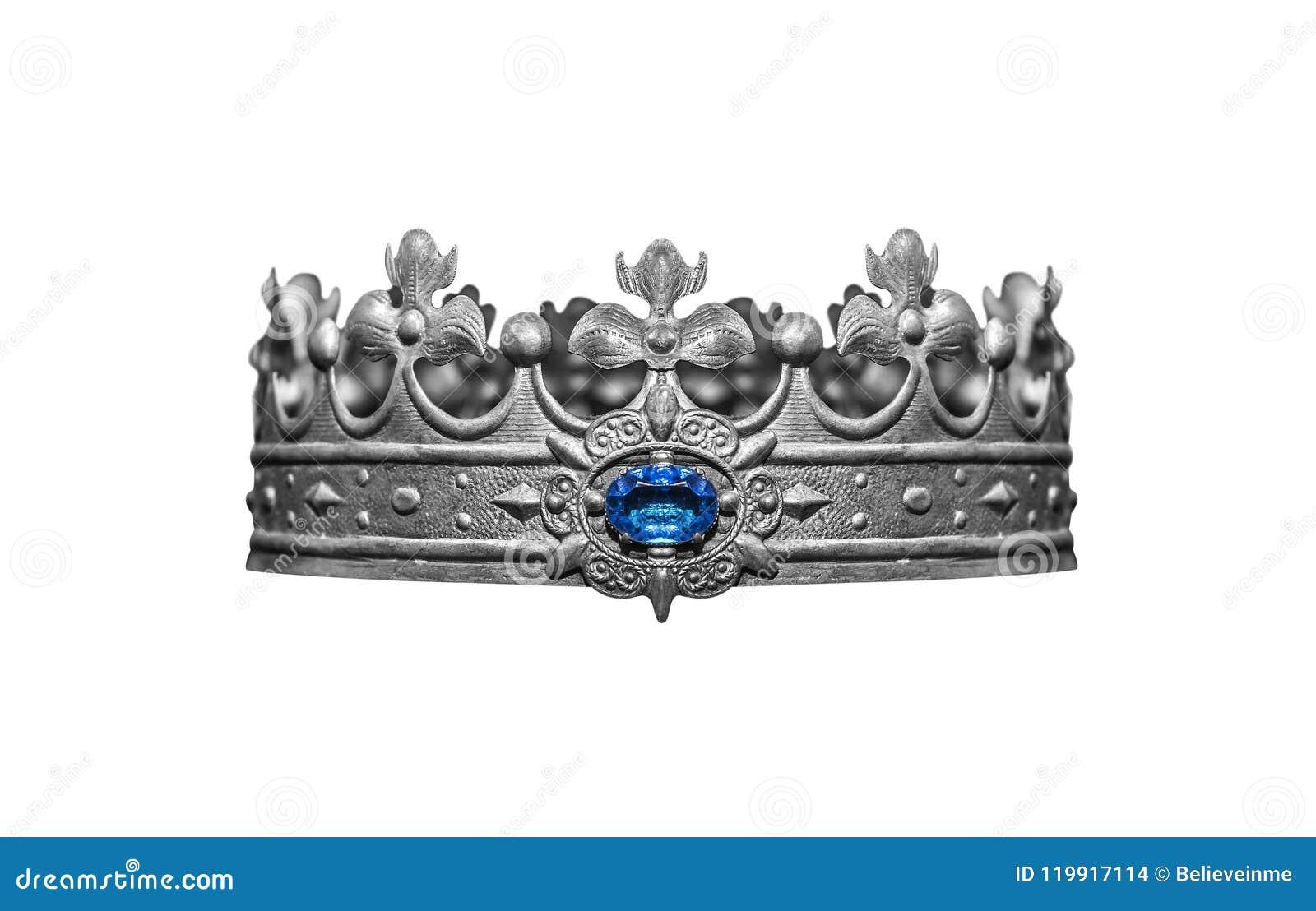 Серебряная крона при драгоценности изолированные на белизне
