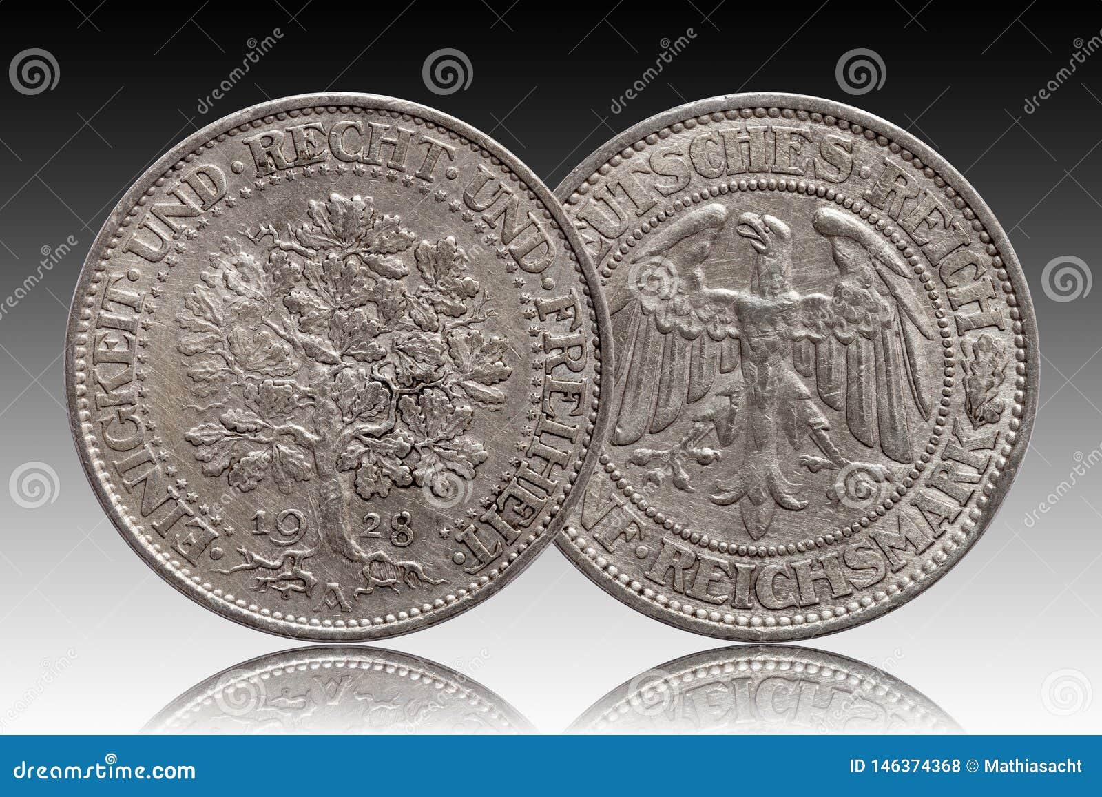 Серебряная монета 5 Германии немецкая республика Веймара дуба 5 меток