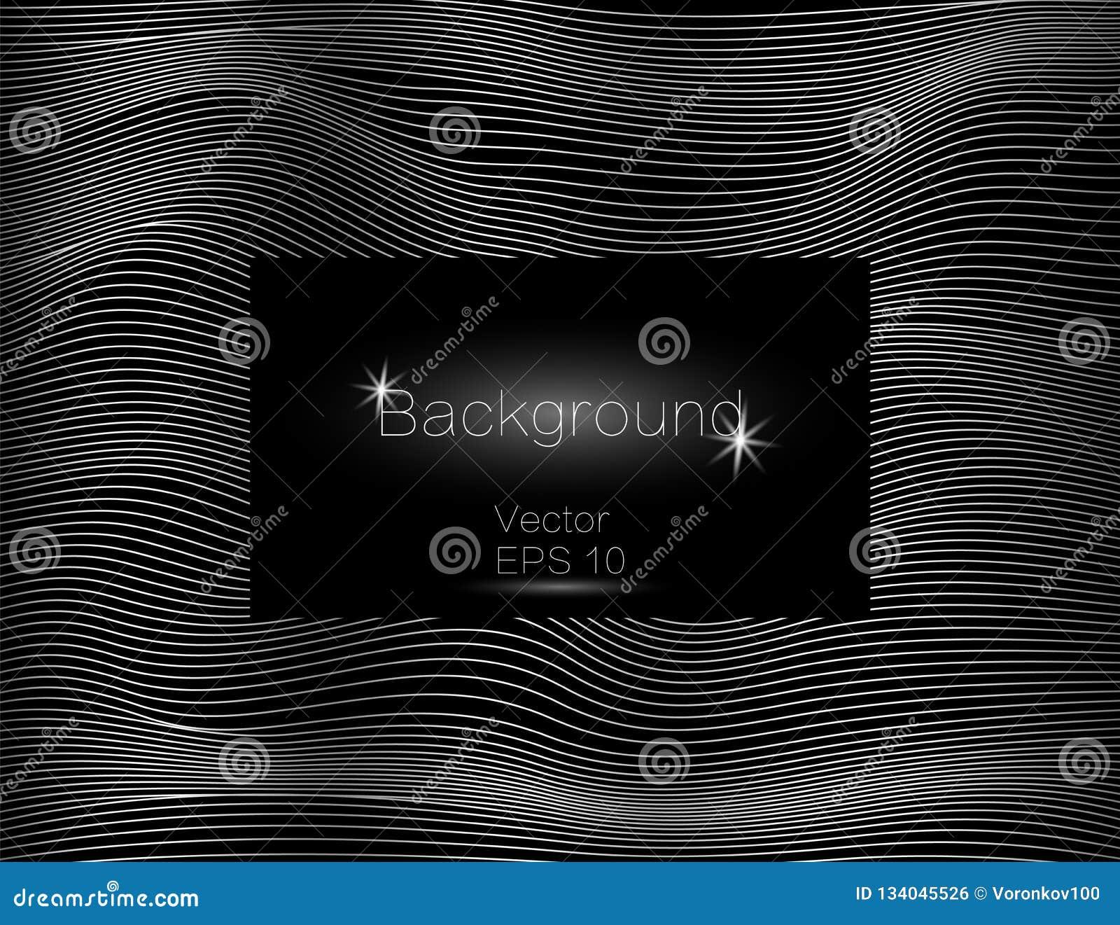 Серебряное волнистое, линии роскошь Предпосылка нашивок текстуры вектора, с темной квадратной плитой Замотка прокладки