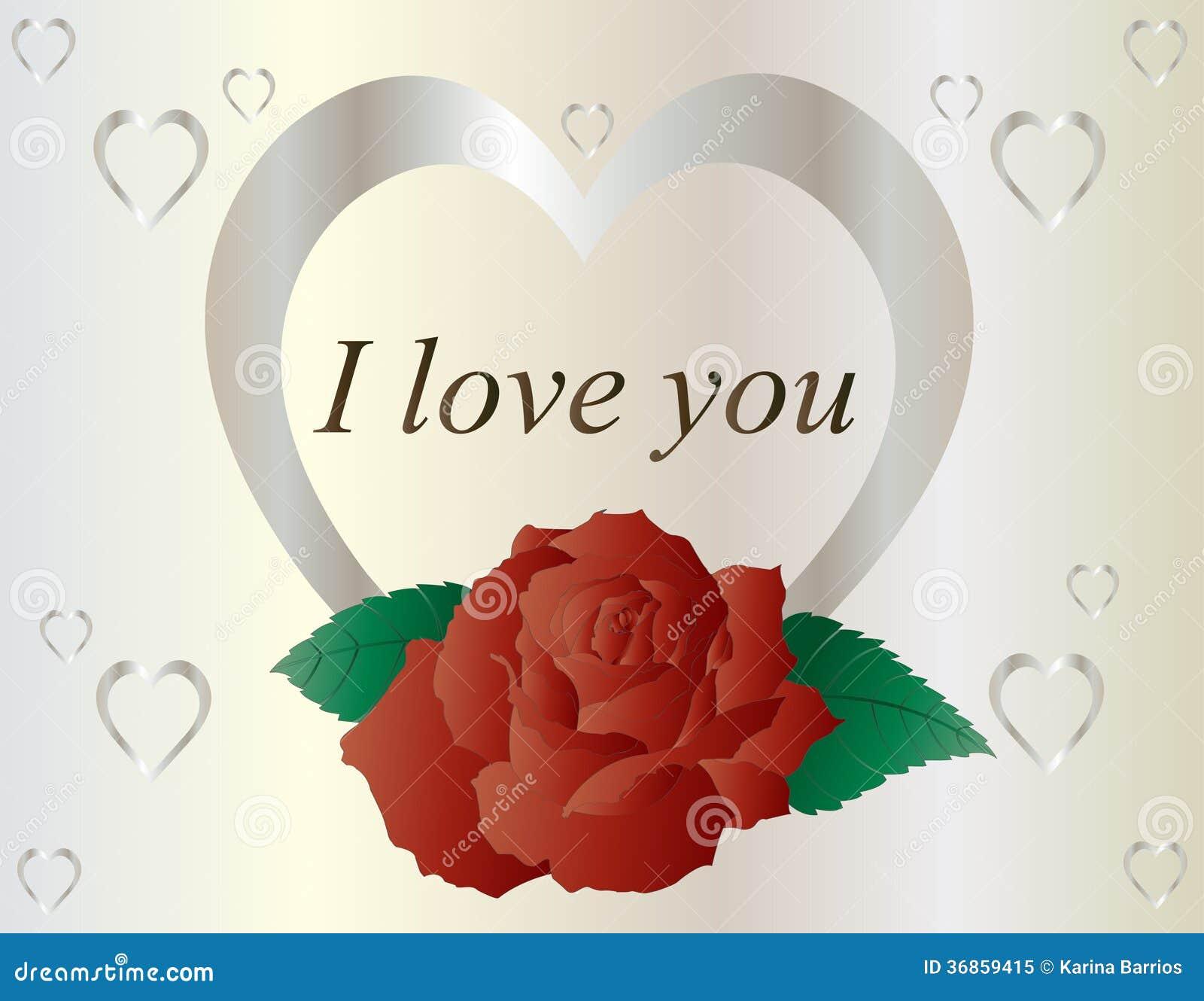 Серебряное сердце с красной розой
