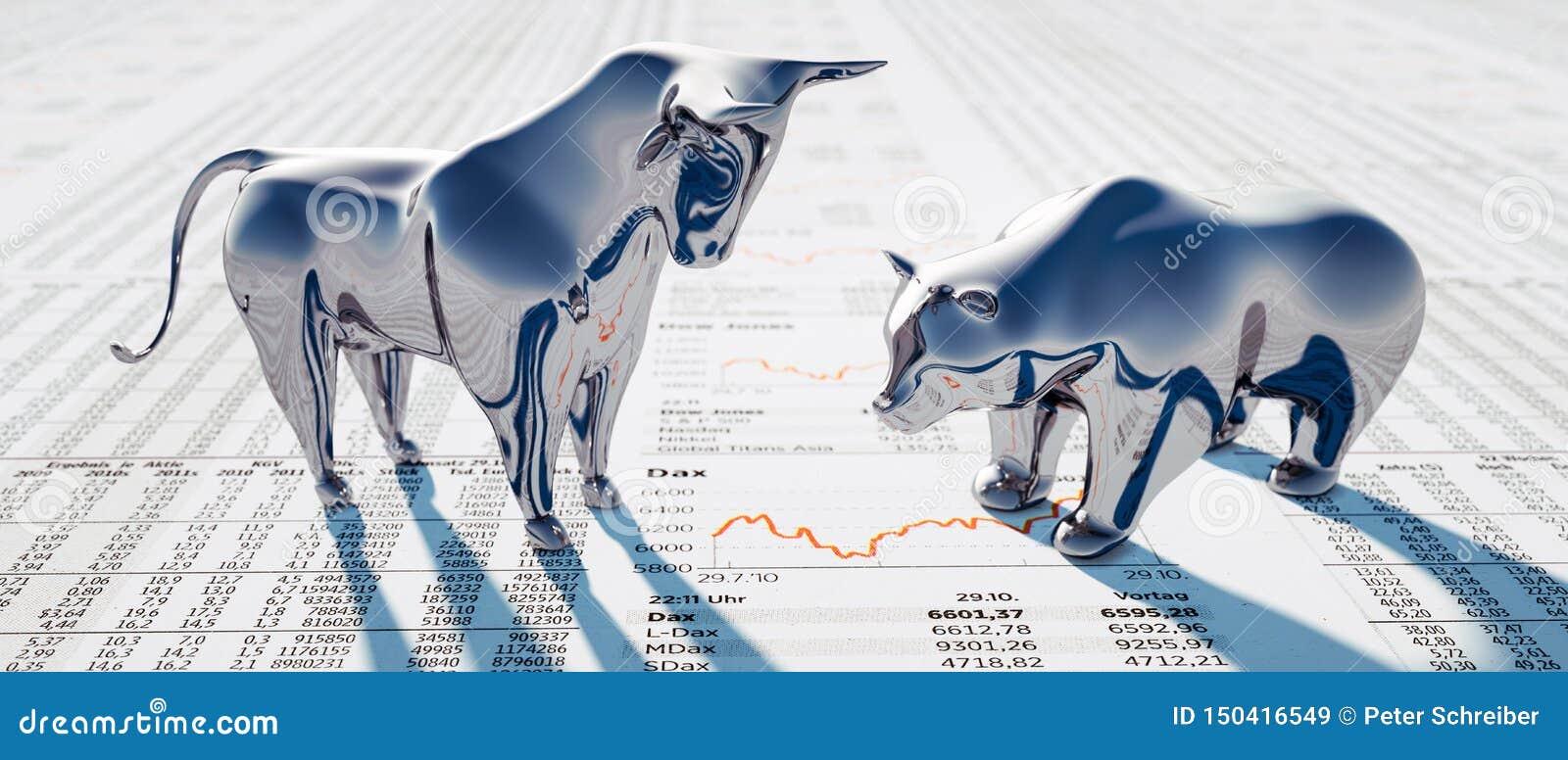 Серебряные бык и медведь - фондовая биржа концепции