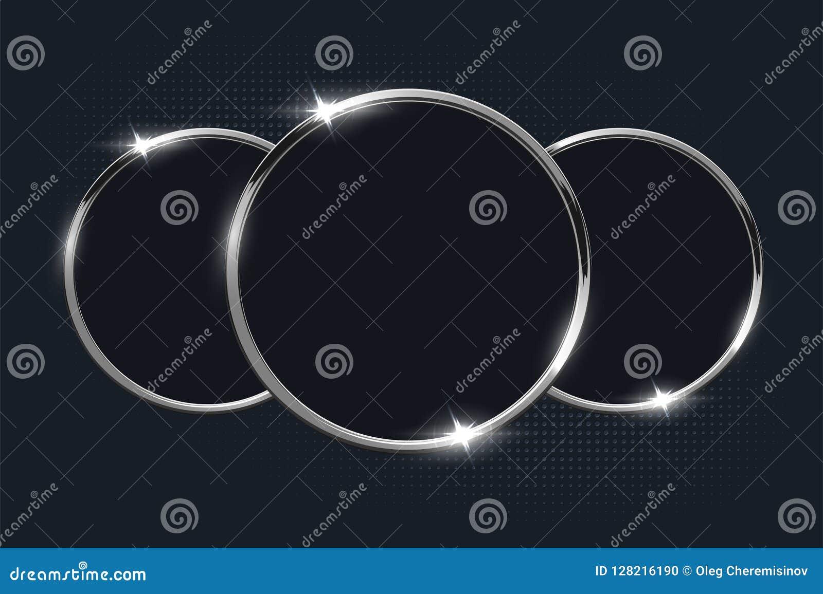 Серебряные кольца на темной предпосылке конструкция легкая редактирует элемент для того чтобы vector