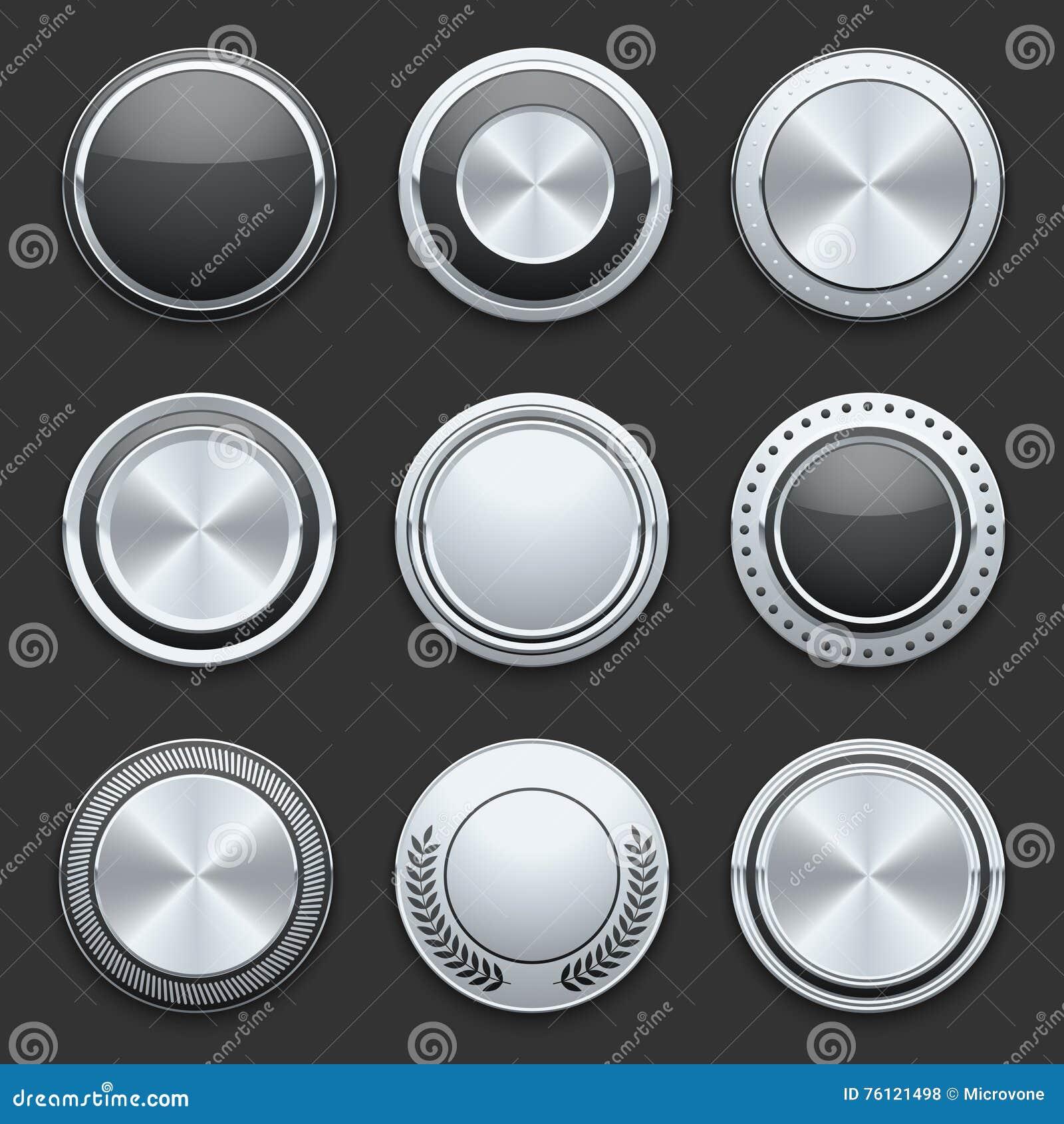Серебряные установленные кнопки вектора хрома металла