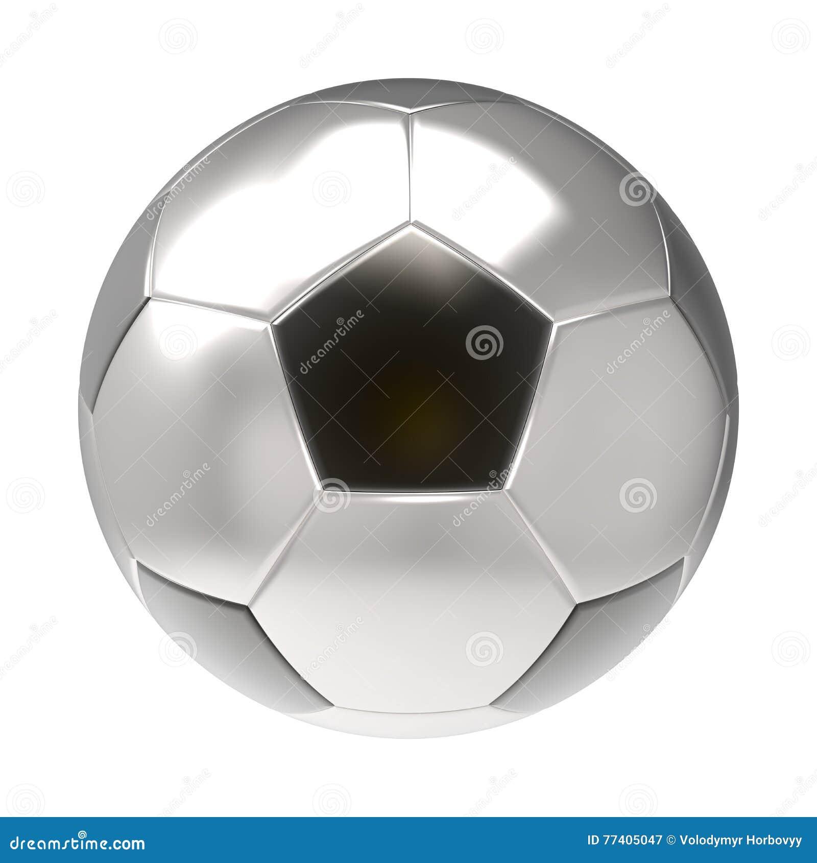Серебряный футбольный мяч 3D представляет