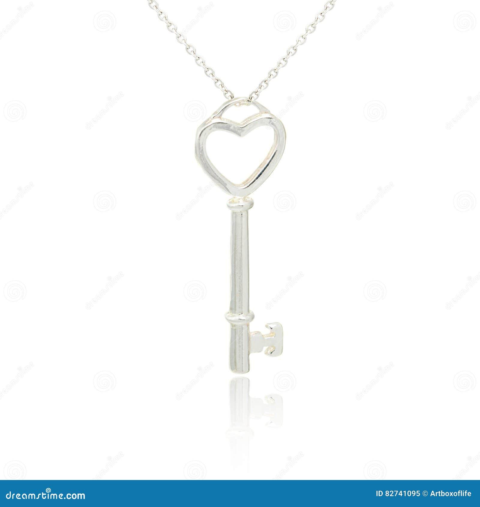 Серебряный шкентель ключа диаманта изолированный на белизне