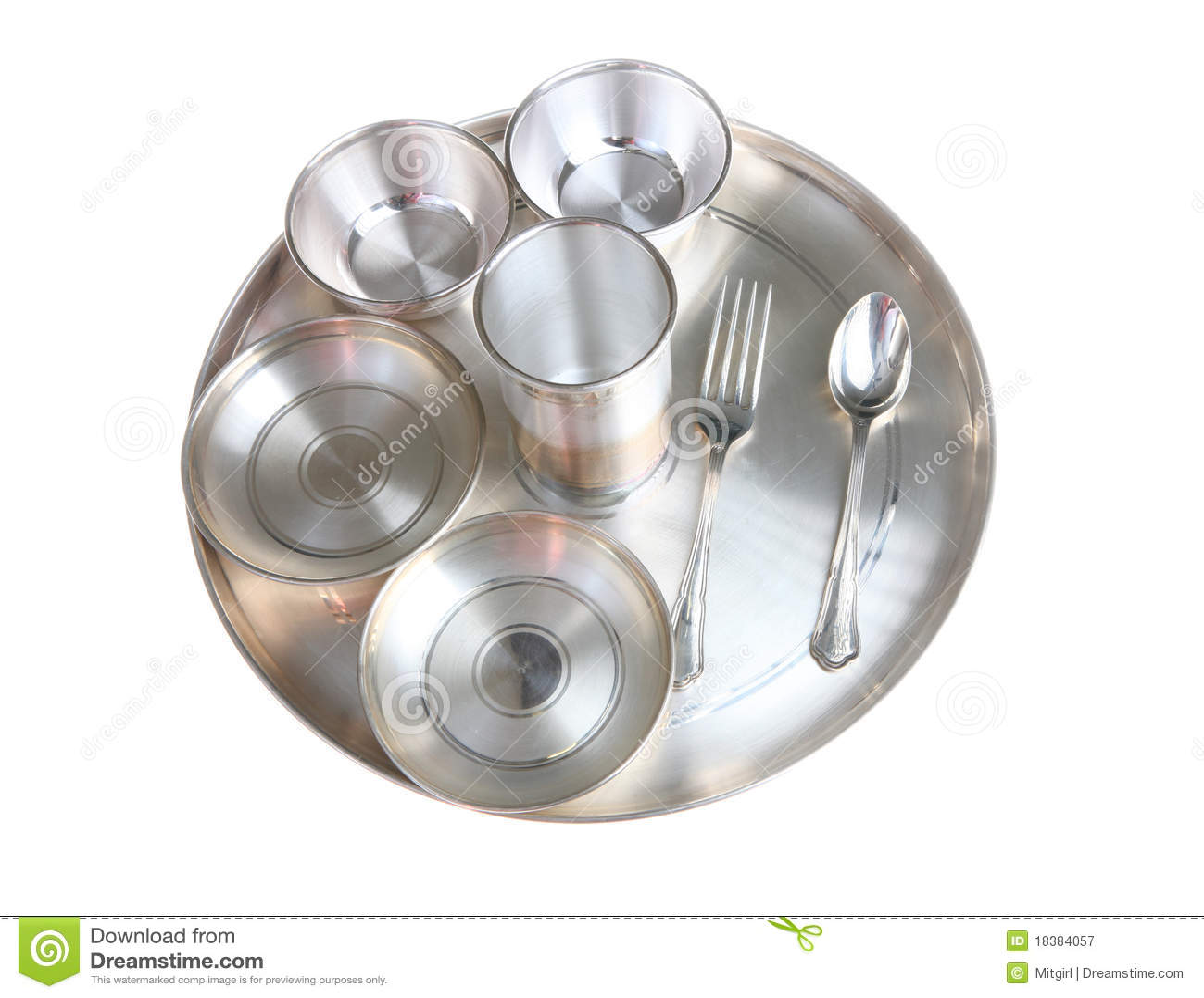 серебр установки плиты обеда индийский традиционный