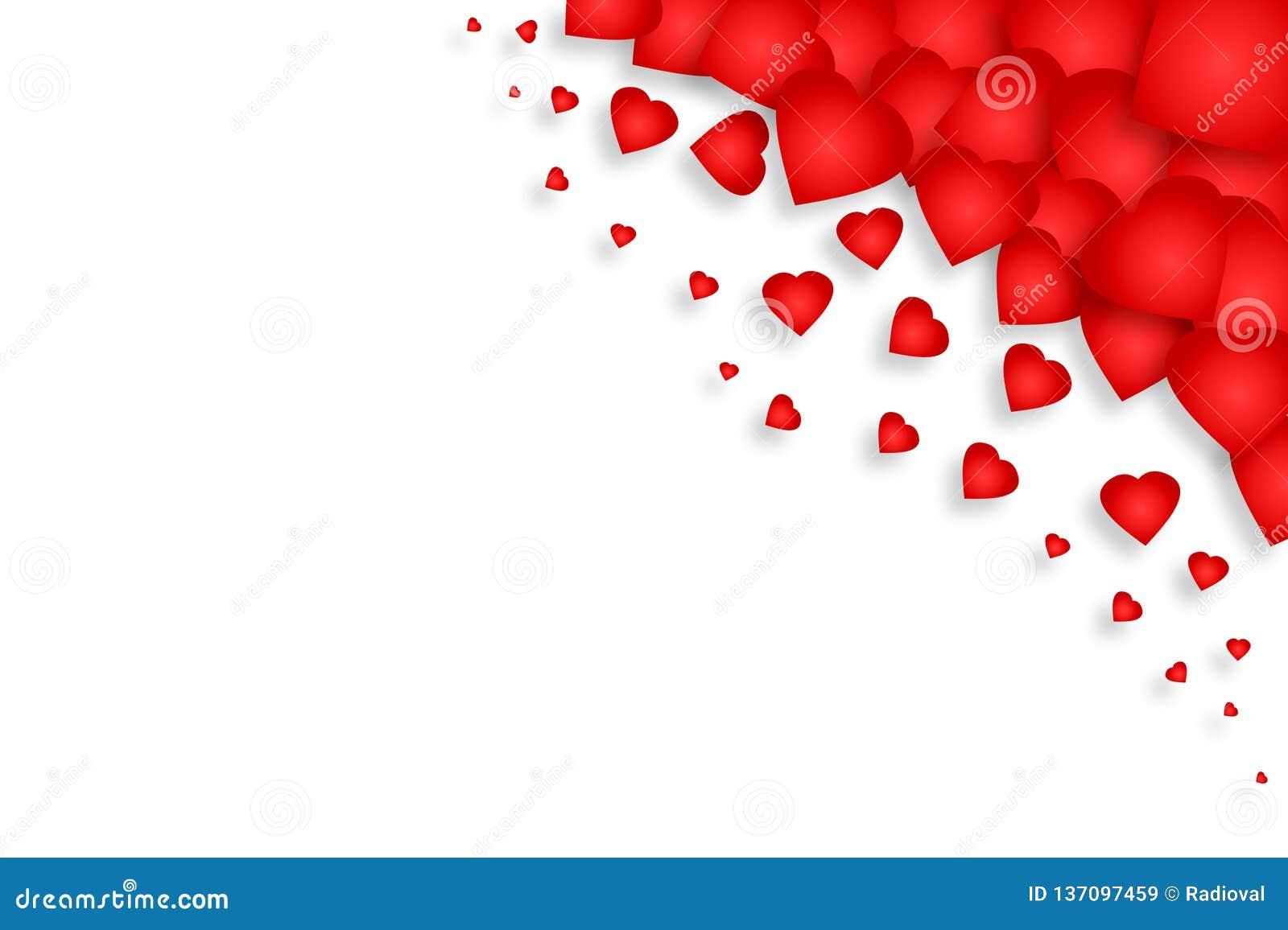 Серия красных сердец на белой предпосылке изолировано День матери, предпосылка дня Валентайн