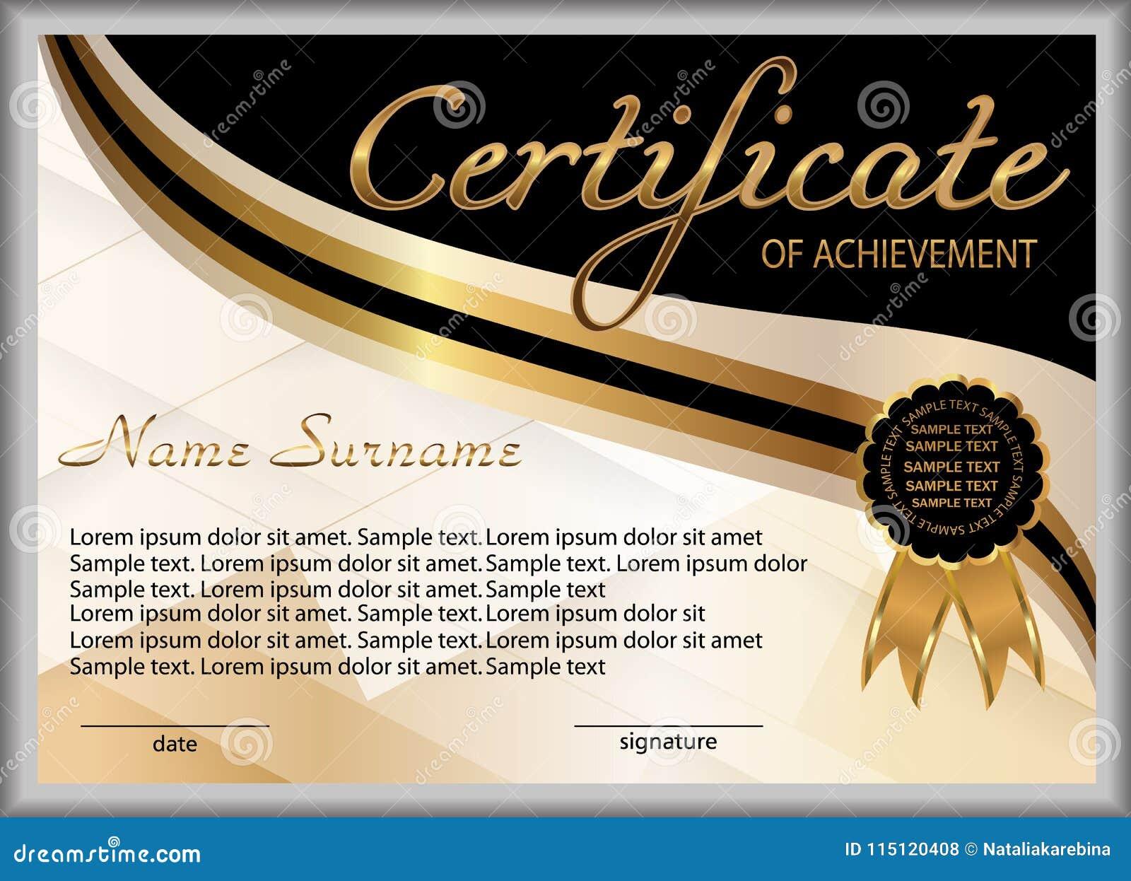 Сертификат достижения, диплом вознаграждение Выигрывать конкуренцию победитель награды Золото и элементы черноты декоративные век