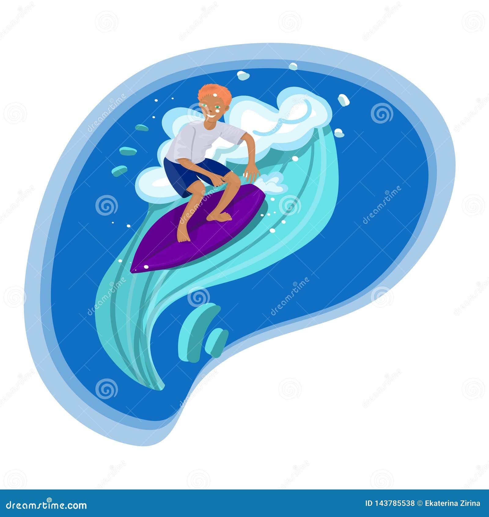 Серфер в заплывах футболки и шортов на изображении вектора волны