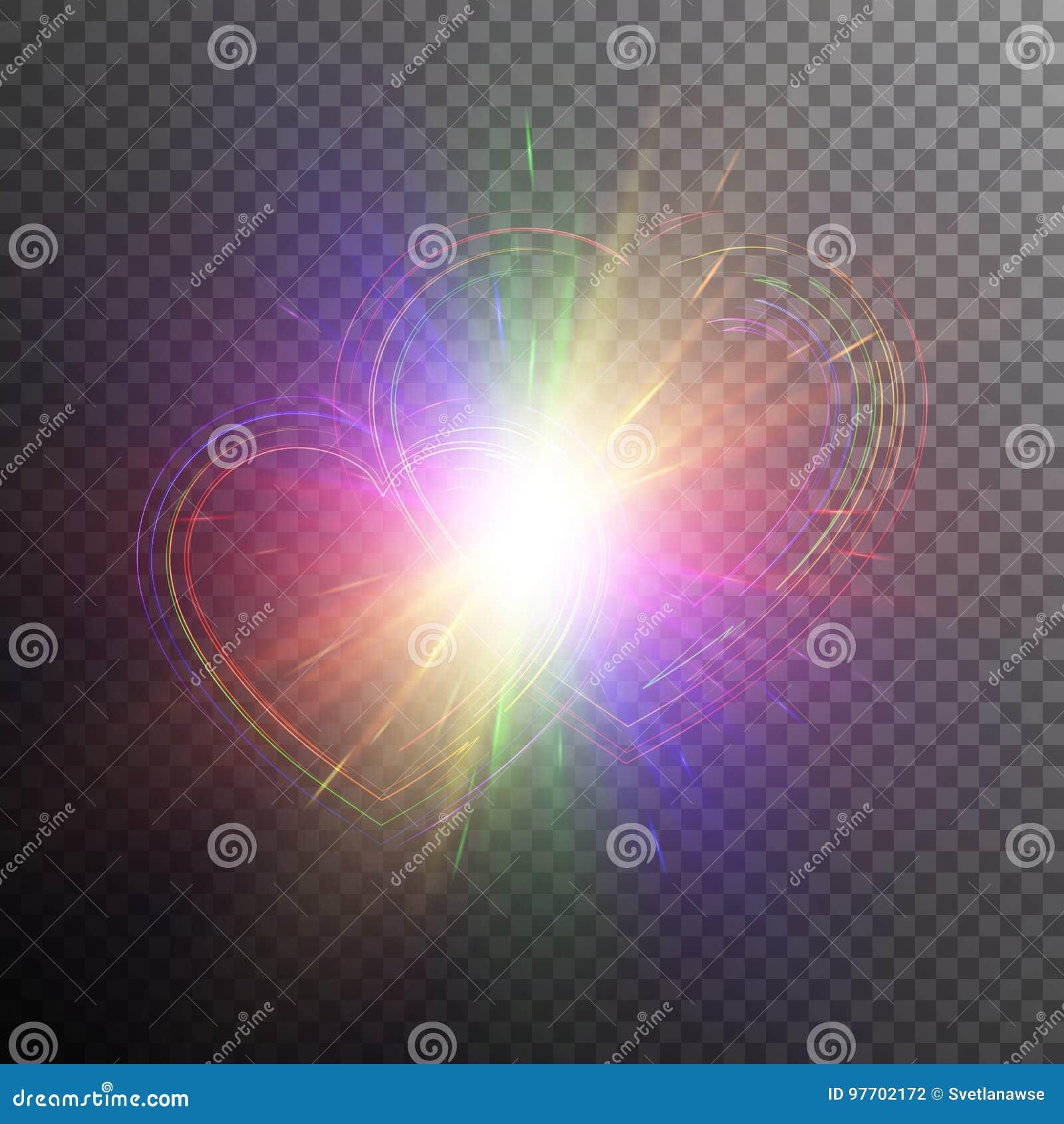 Сердца радуги с световыми эффектами