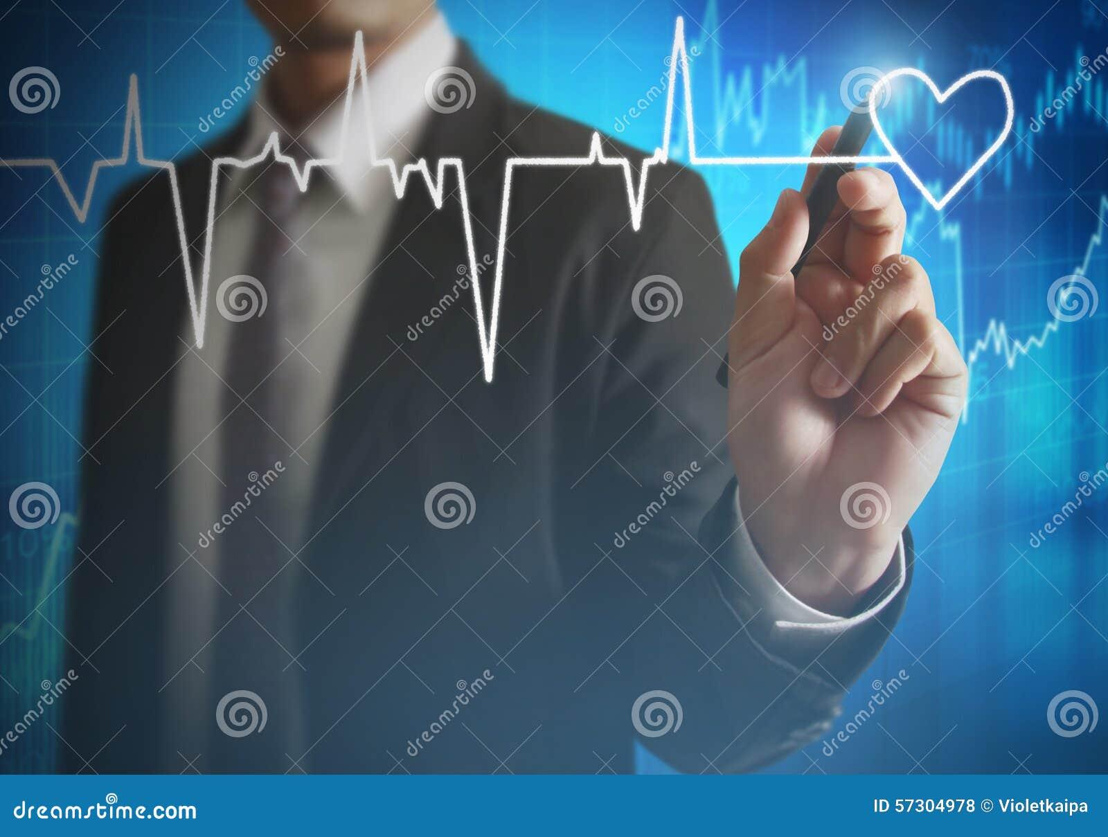 Сердце чертежа человека и биение сердца диаграммы Иллюстрация ...