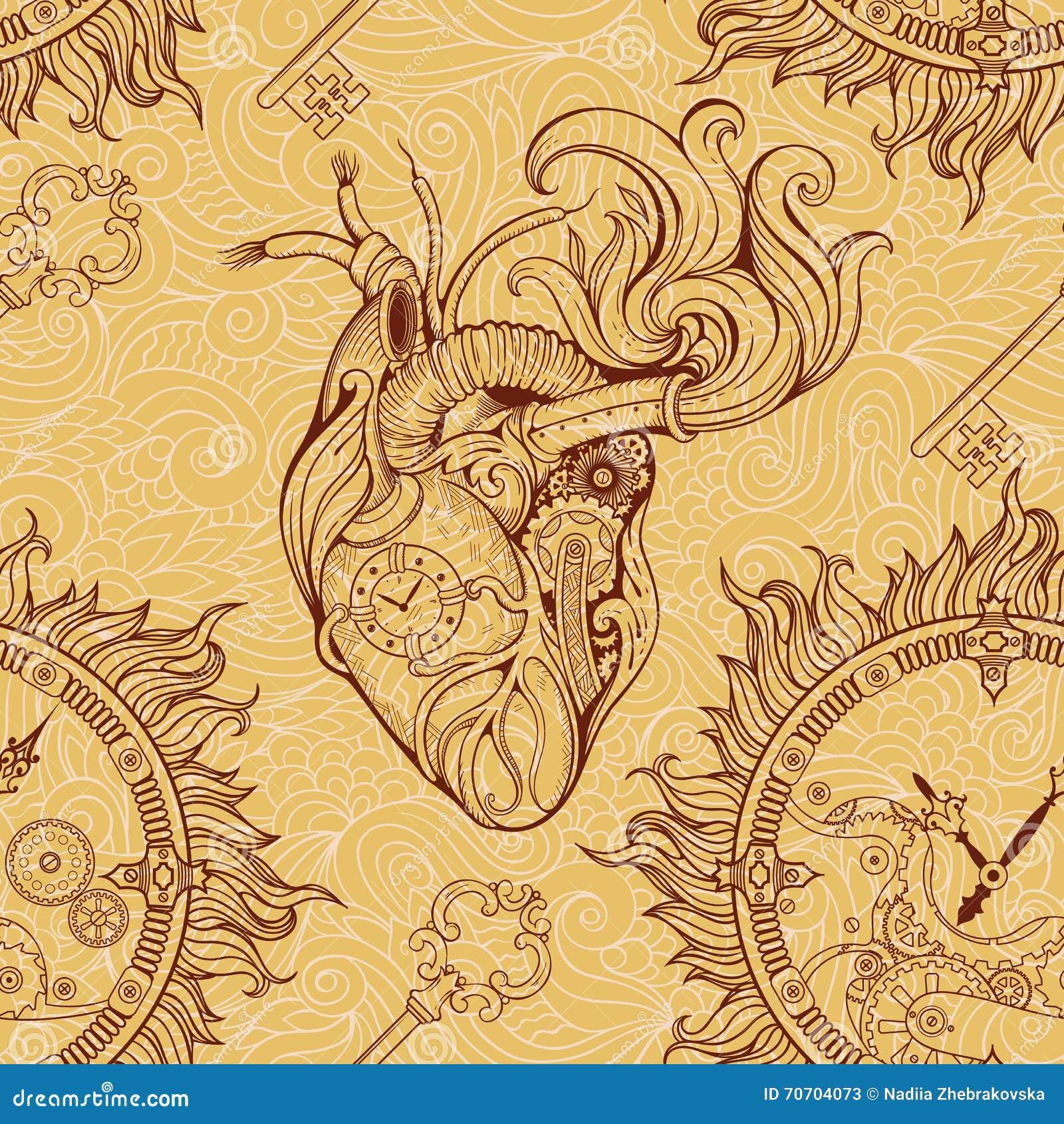 Сердце, clockwork и ключ в стиле steampunk