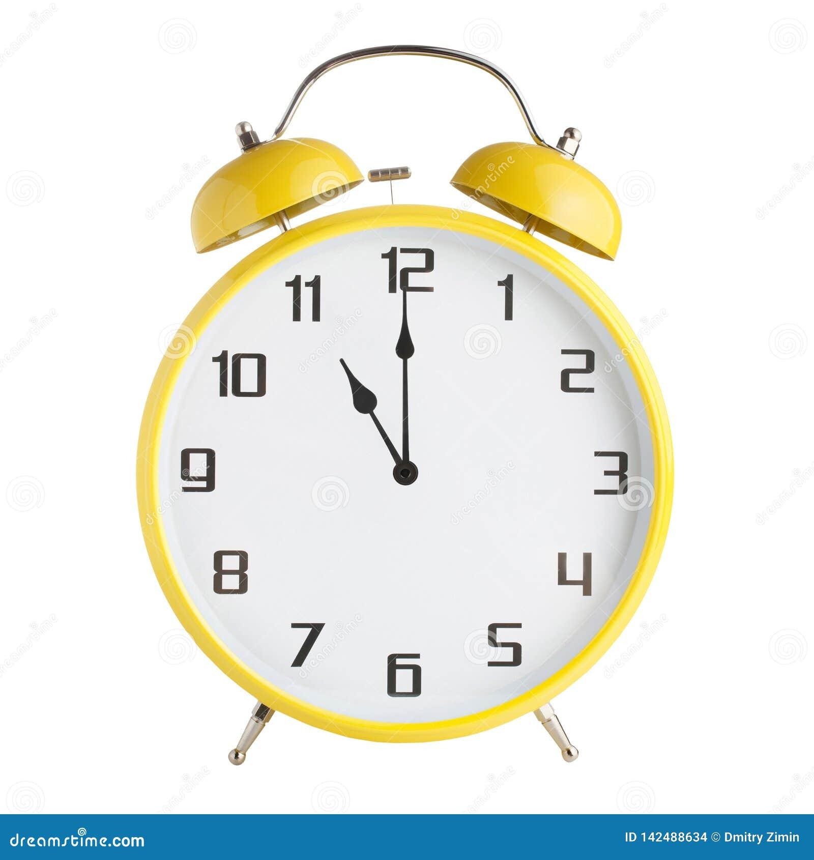 Сетноой-аналогов показ будильника 11 час, 11pm или 11am изолированные на белой предпосылке