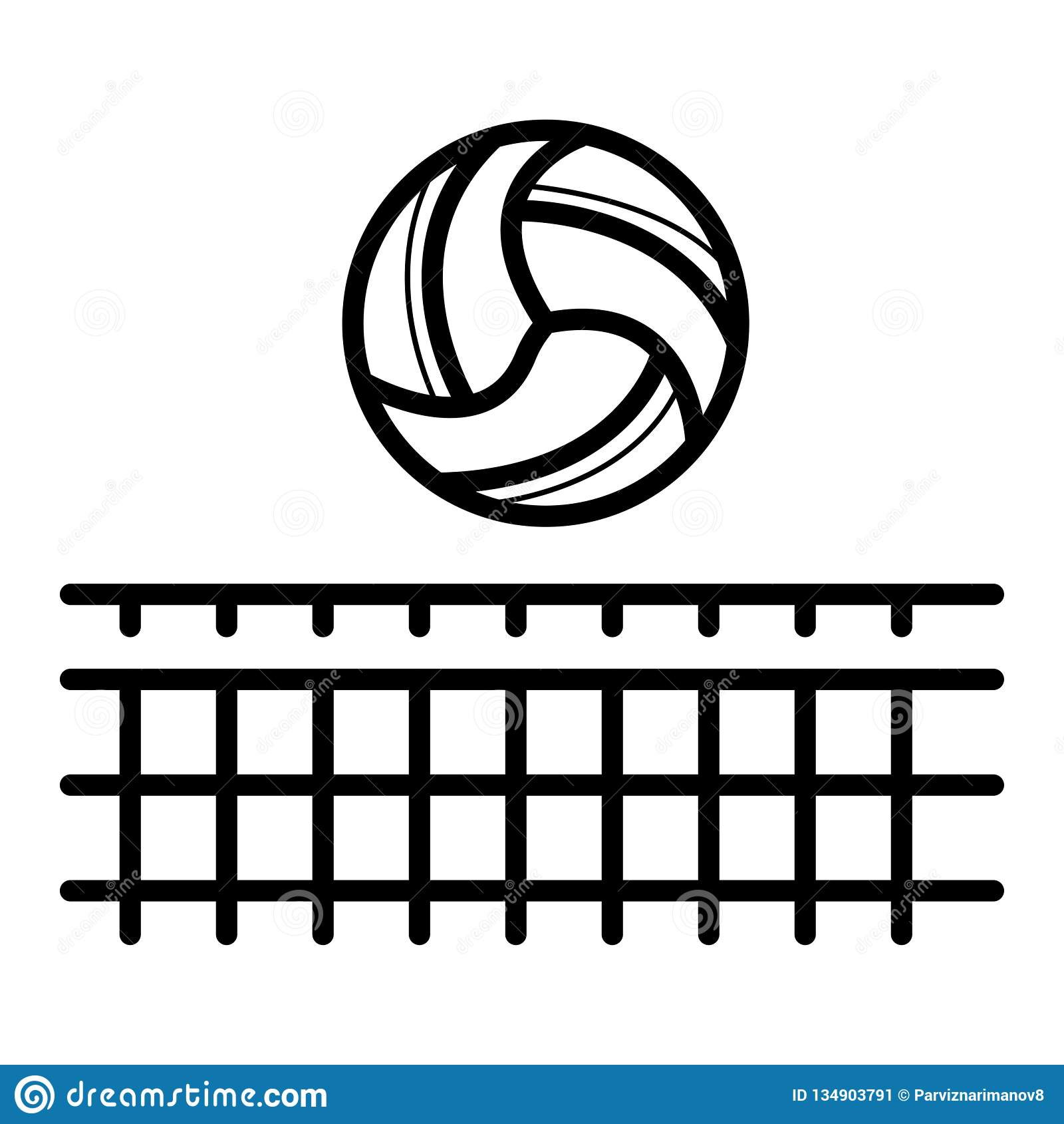 Сеть волейбола со значком шарика Спорт пляжа
