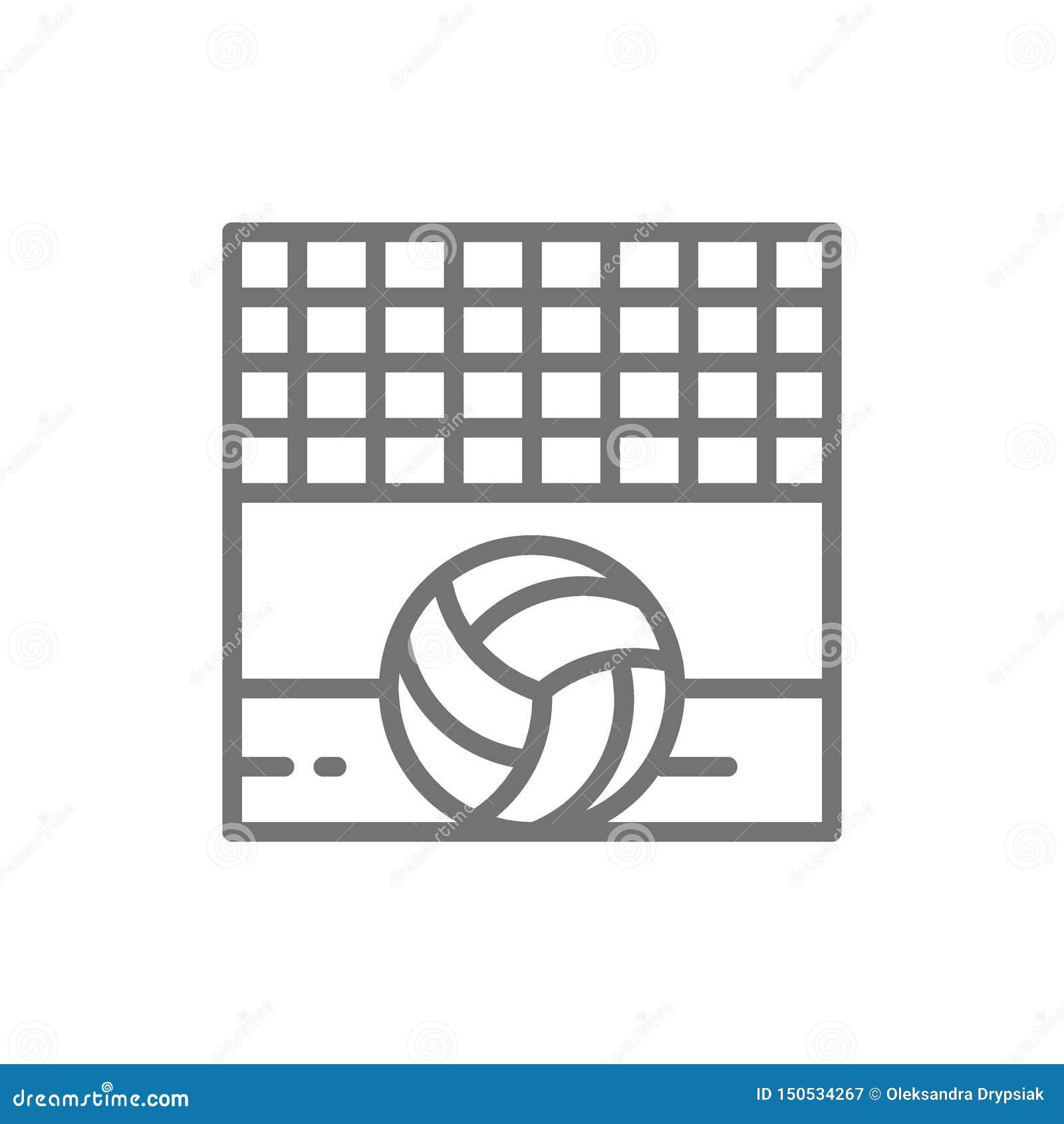 Сеть волейбола с шариком, линией значком пляжа песка