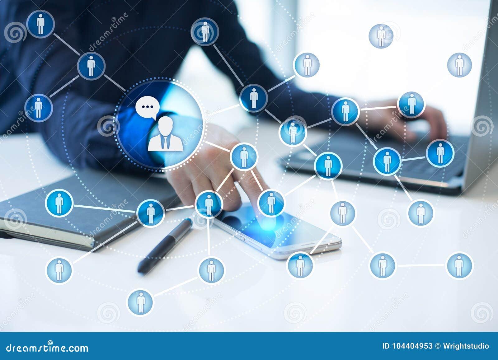 Сеть значка людей SMM средства маркетинга социальные