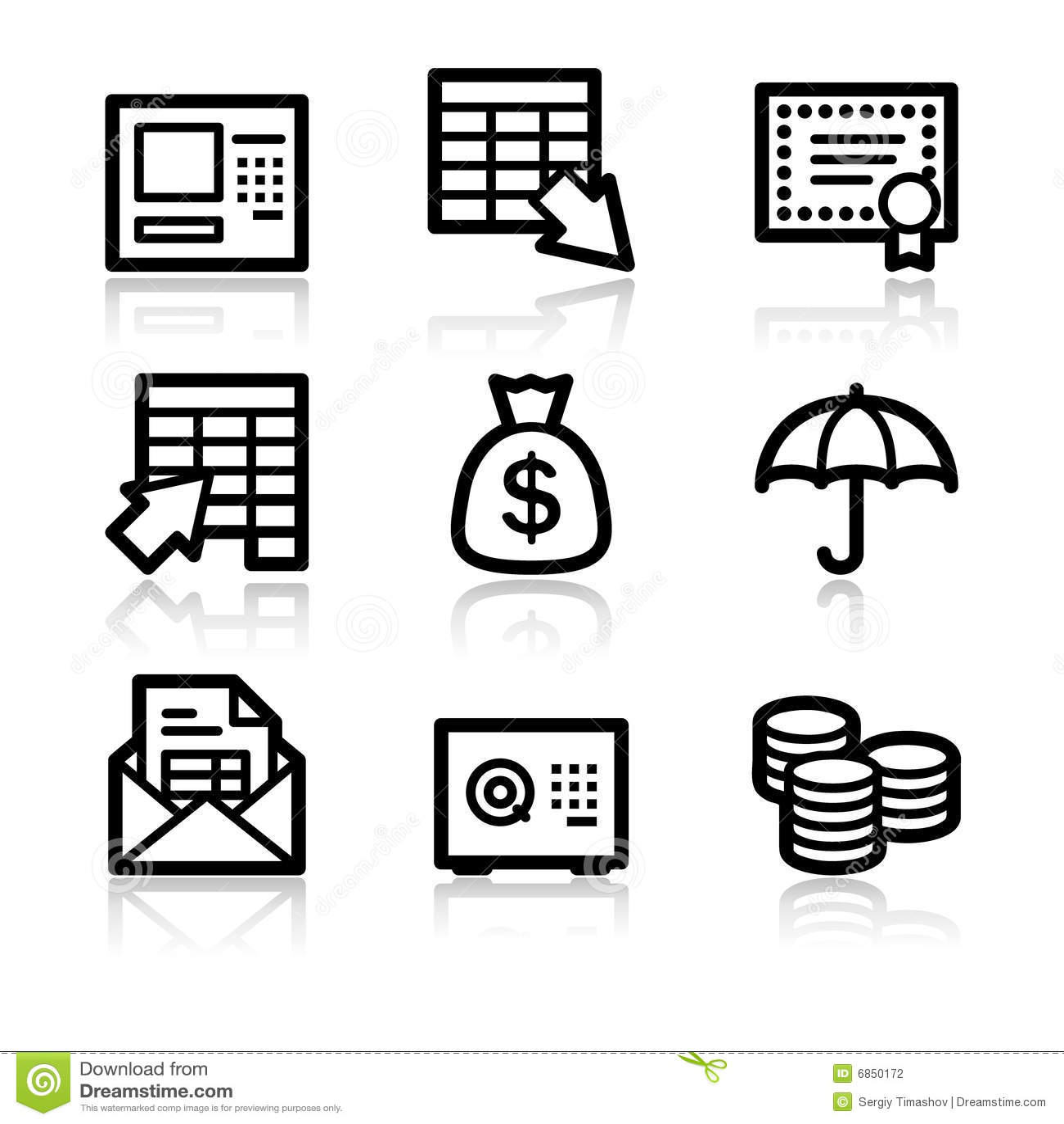 сеть икон контура банка