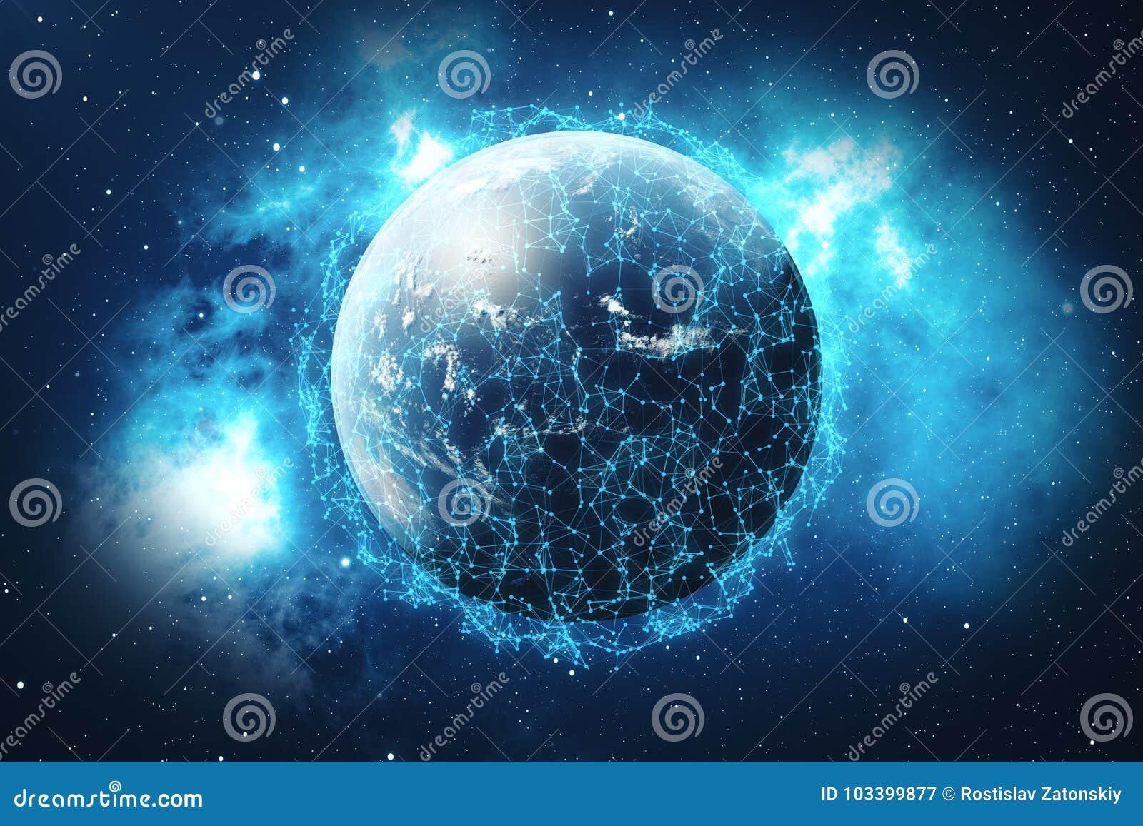 сеть и обмен данными перевода 3D над землей планеты в космосе Линии соединения вокруг глобуса земли Глобальные