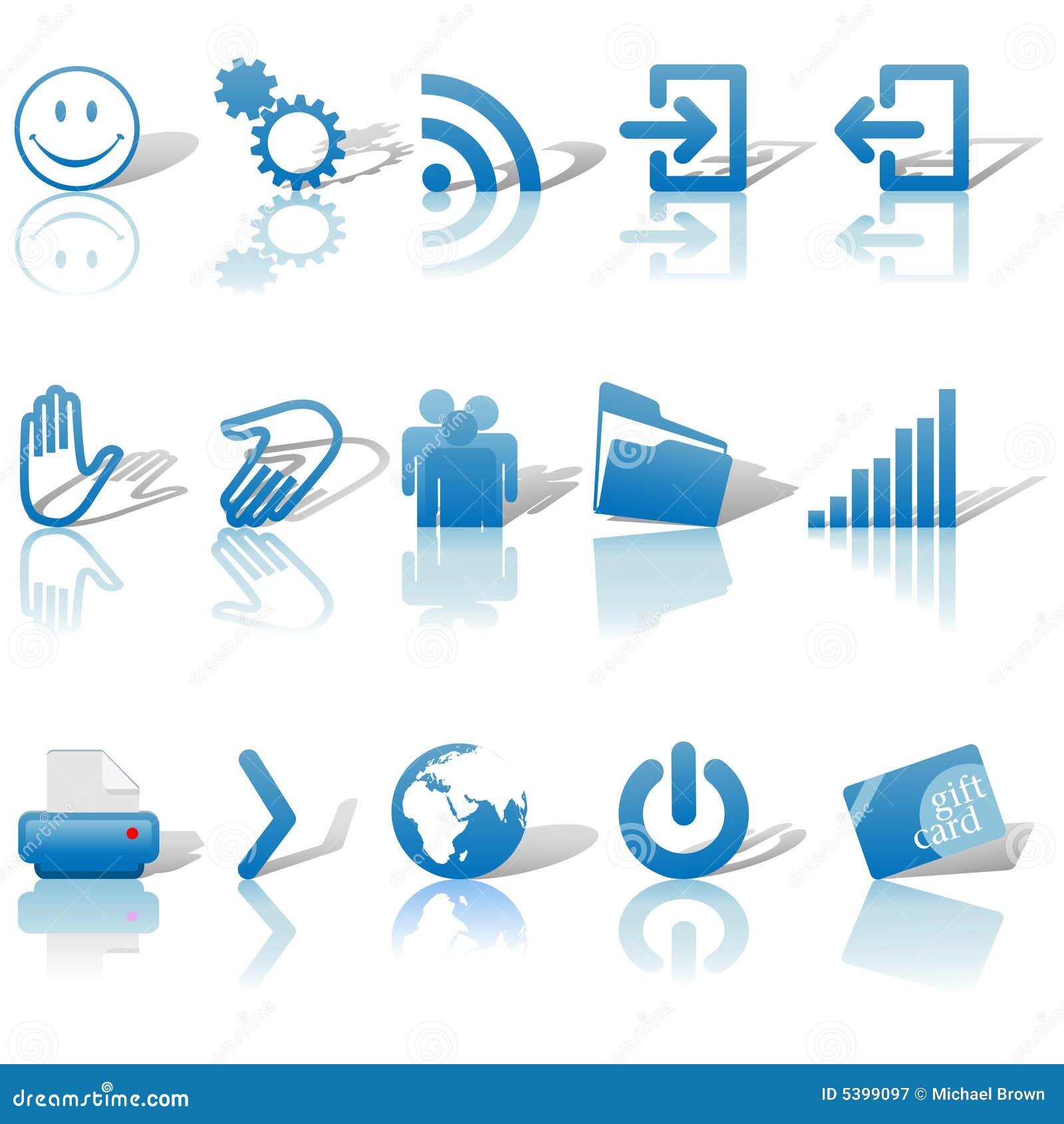 сеть 2 голубыми теней икон установленная relections белая
