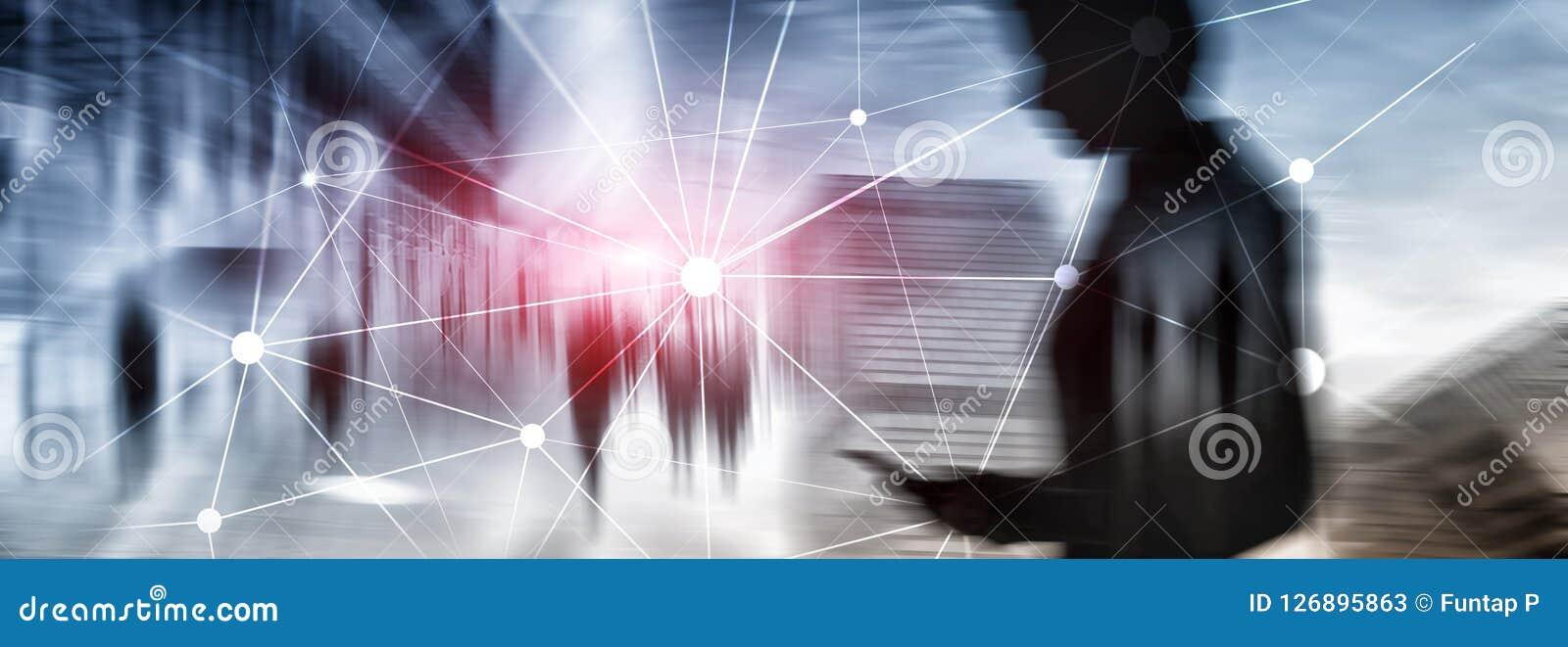 Сеть Blockchain на запачканной предпосылке небоскребов Финансовая концепция технологии и связи