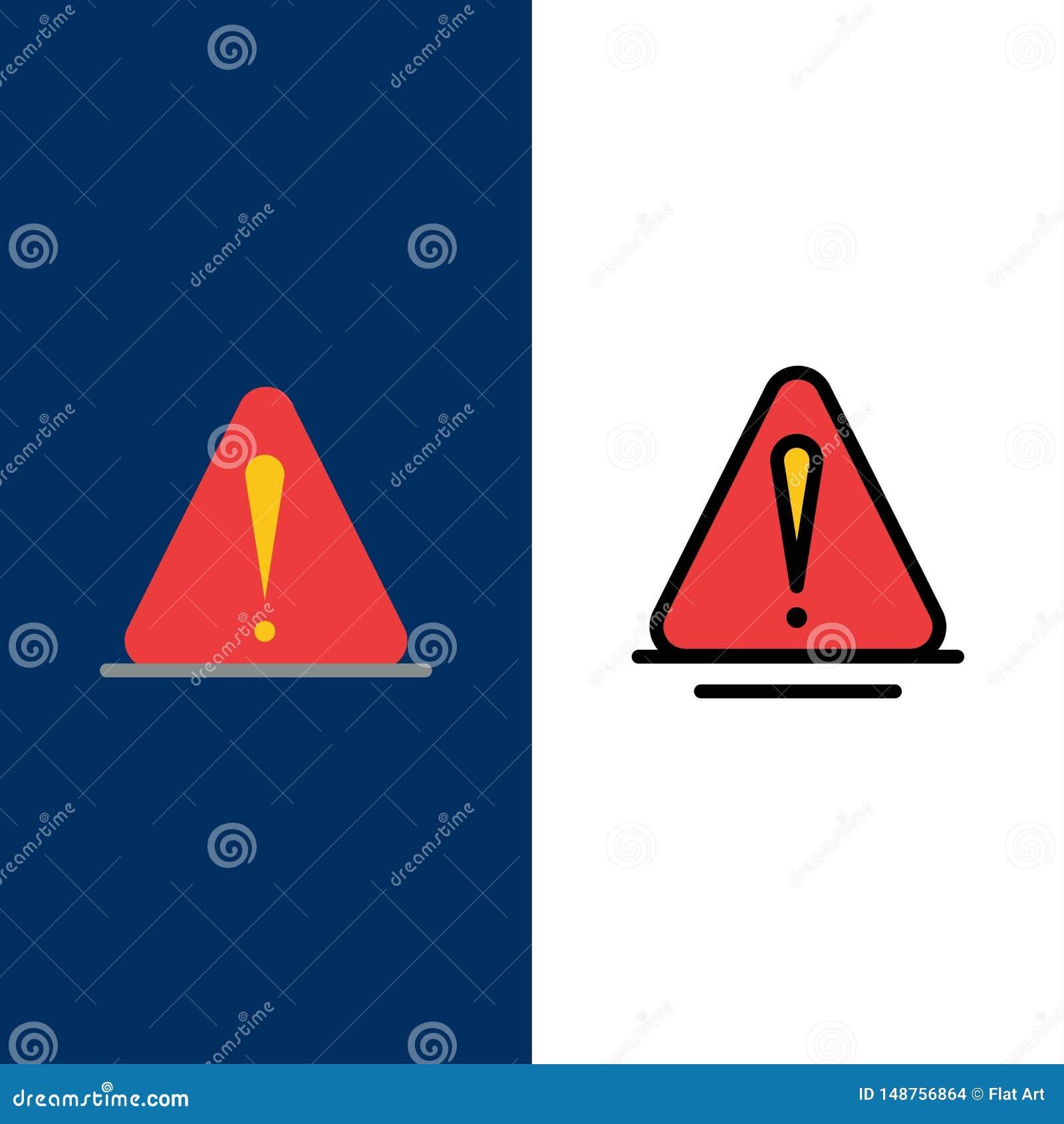 Сигнал тревоги, опасность, предупреждение, логистические значки Квартира и линия заполненный значок установили предпосылку вектор