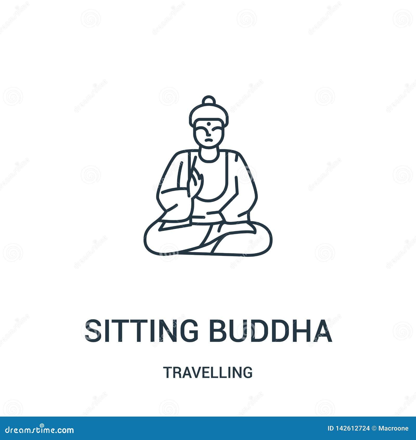сидя вектор значка Будды от путешествовать собрание Тонкая линия сидя иллюстрация вектора значка плана Будды Линейный символ