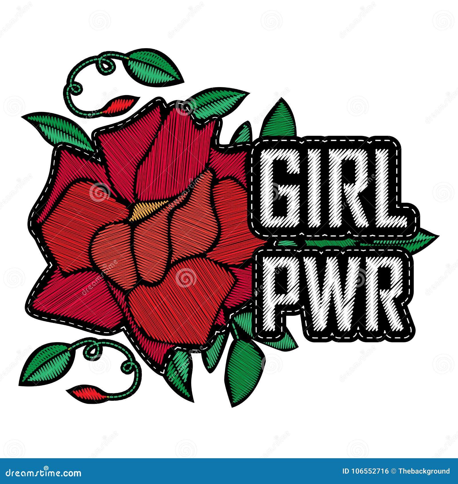 Сила девушки - значок или заплата моды Вышивка подняла с листьями