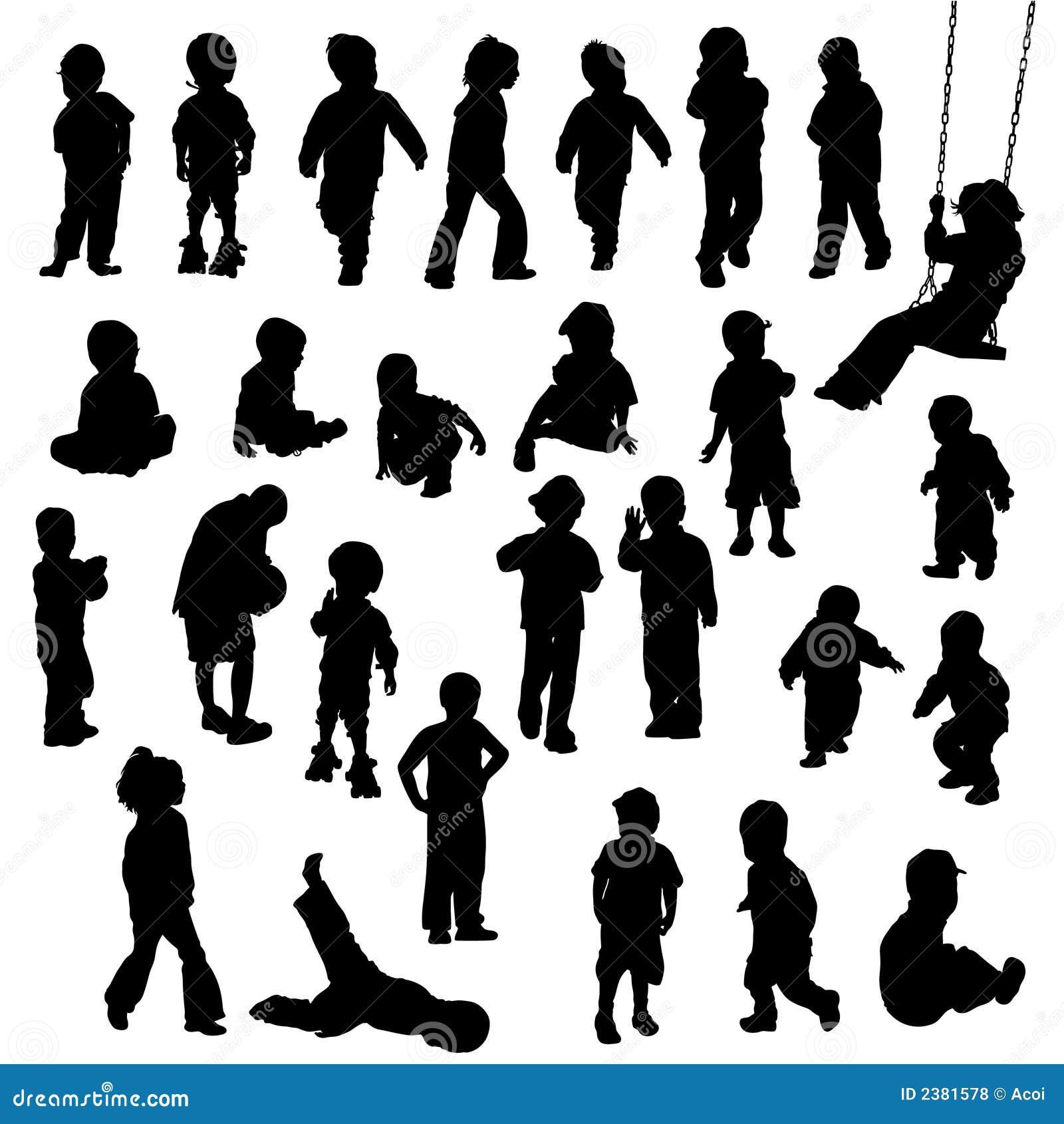 силуэты картинки детей