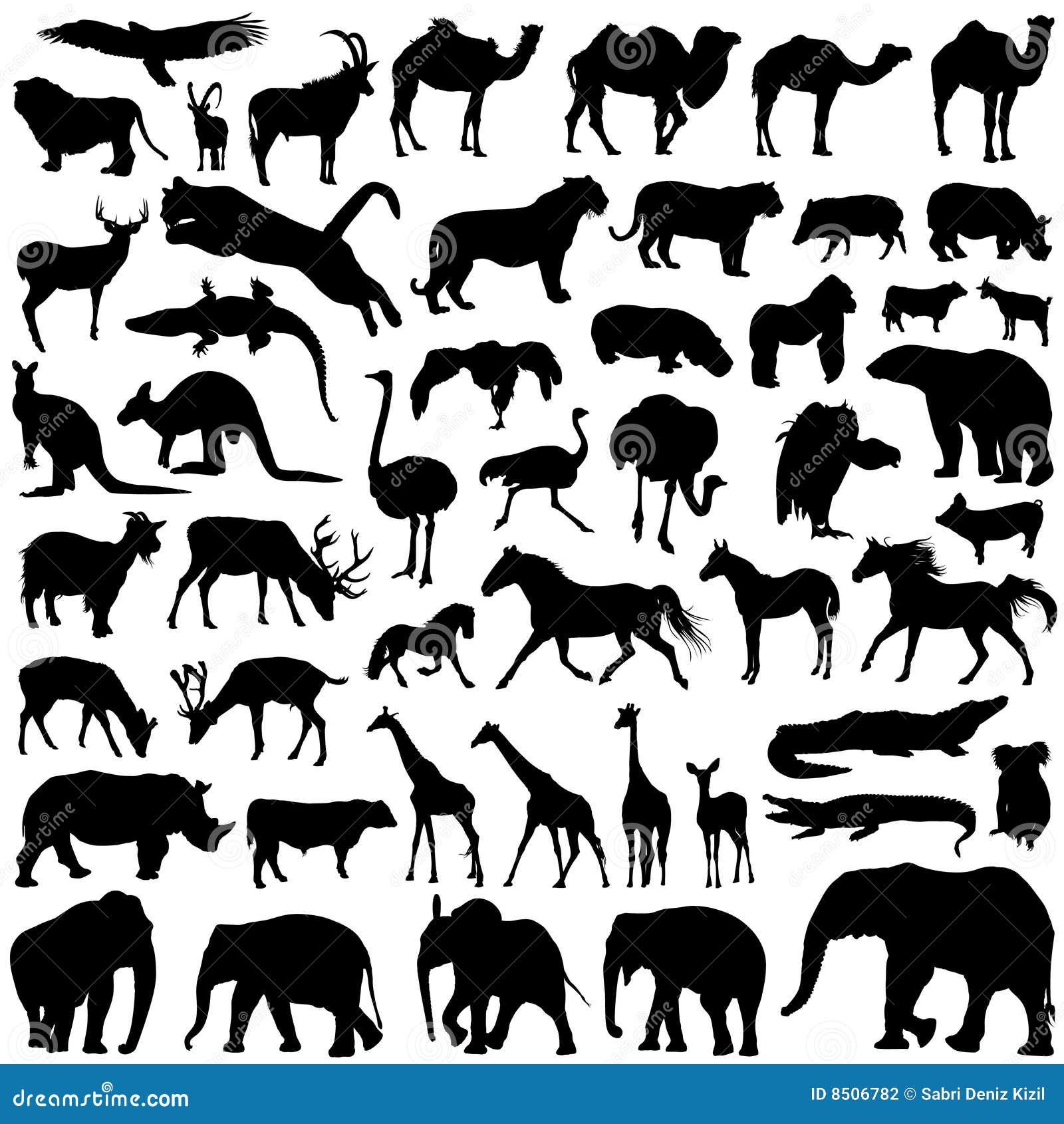 силуэты животных одичалые