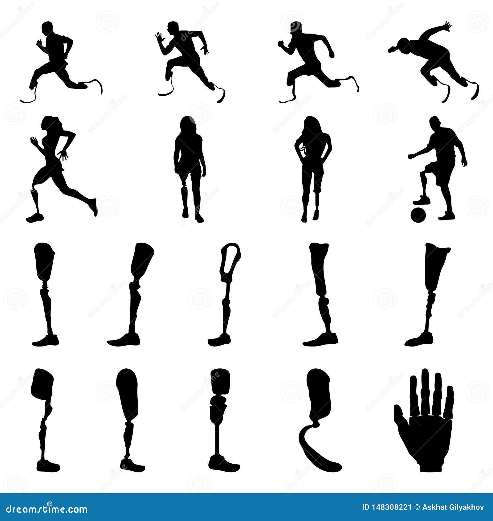 Силуэты людей человека с ампутированной конечностью с искусственным лимбом Силуэты простетических ног и оружий