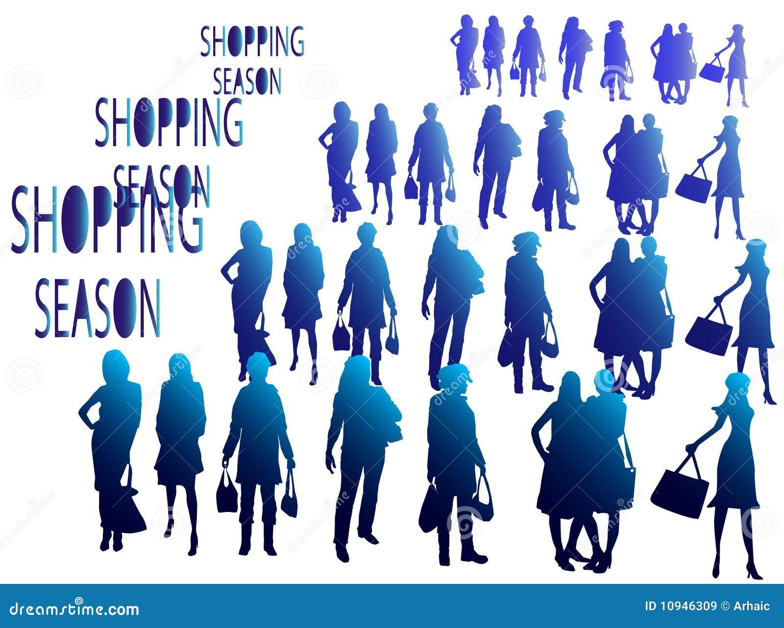 силуэты покупкы сезона людей