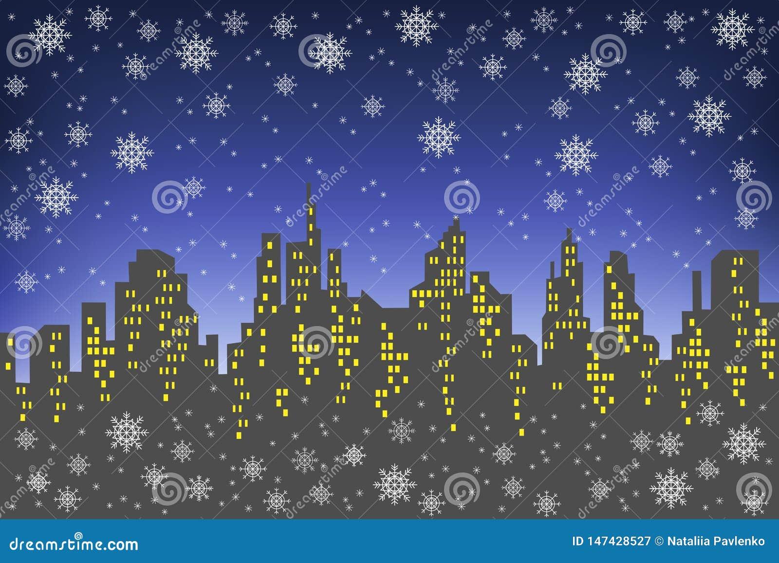 Силуэт большого города на фоне темного выравниваясь неба Окна в домах освещены Оно s идя снег, a