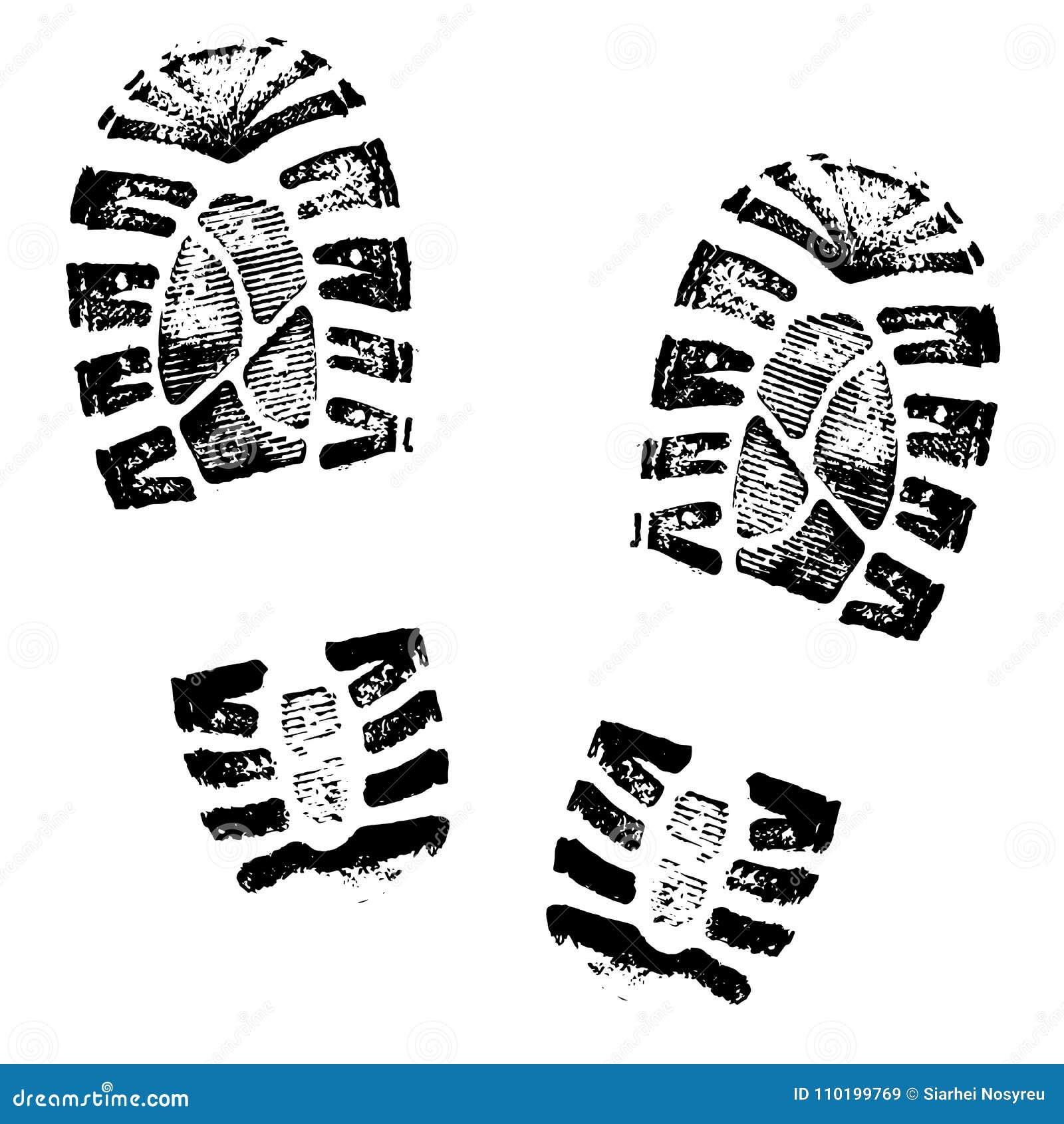 Силуэт ботинок следов ноги человеческий на белой предпосылке
