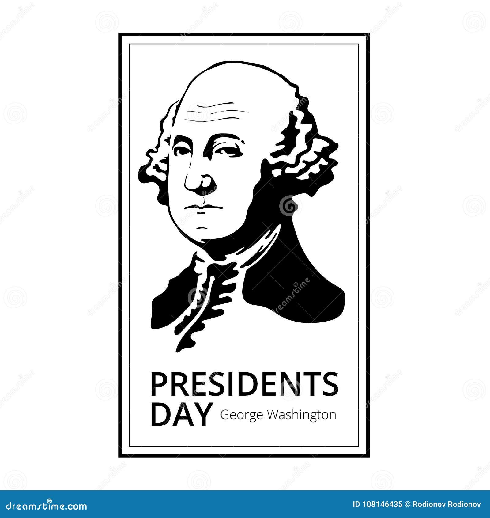 Силуэт Джорджа Вашингтона к счастливым президентам Дню - национальному американскому празднику Иллюстрация вектора изолированная