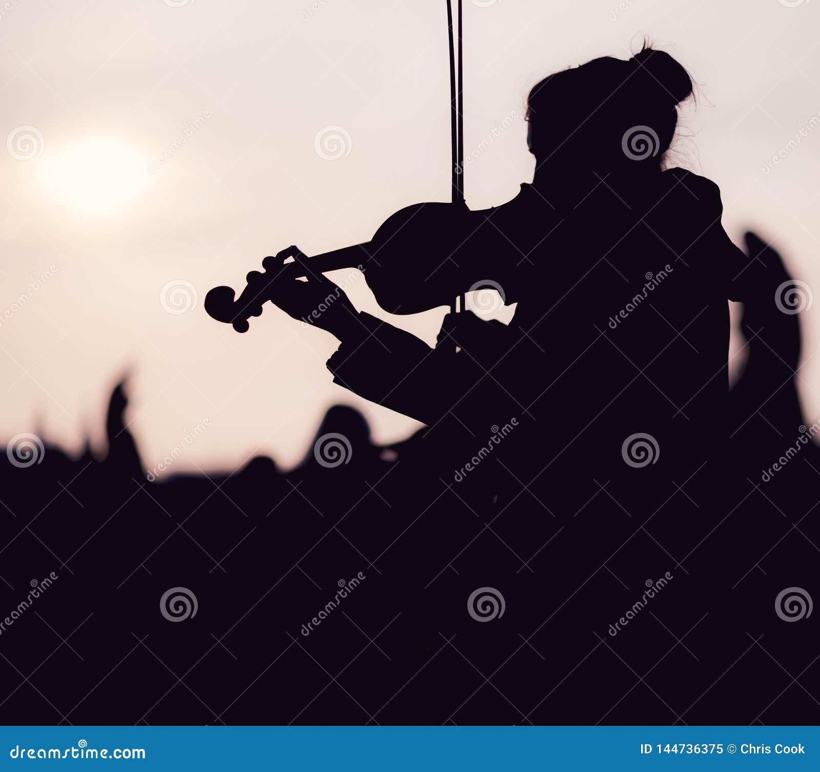 Силуэт женщины играя скрипку во время захода солнца против солнца - пр