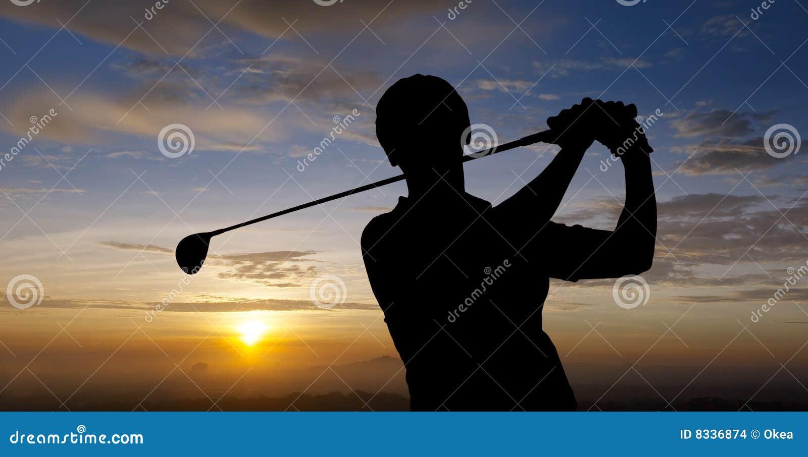 силуэт игрока в гольф