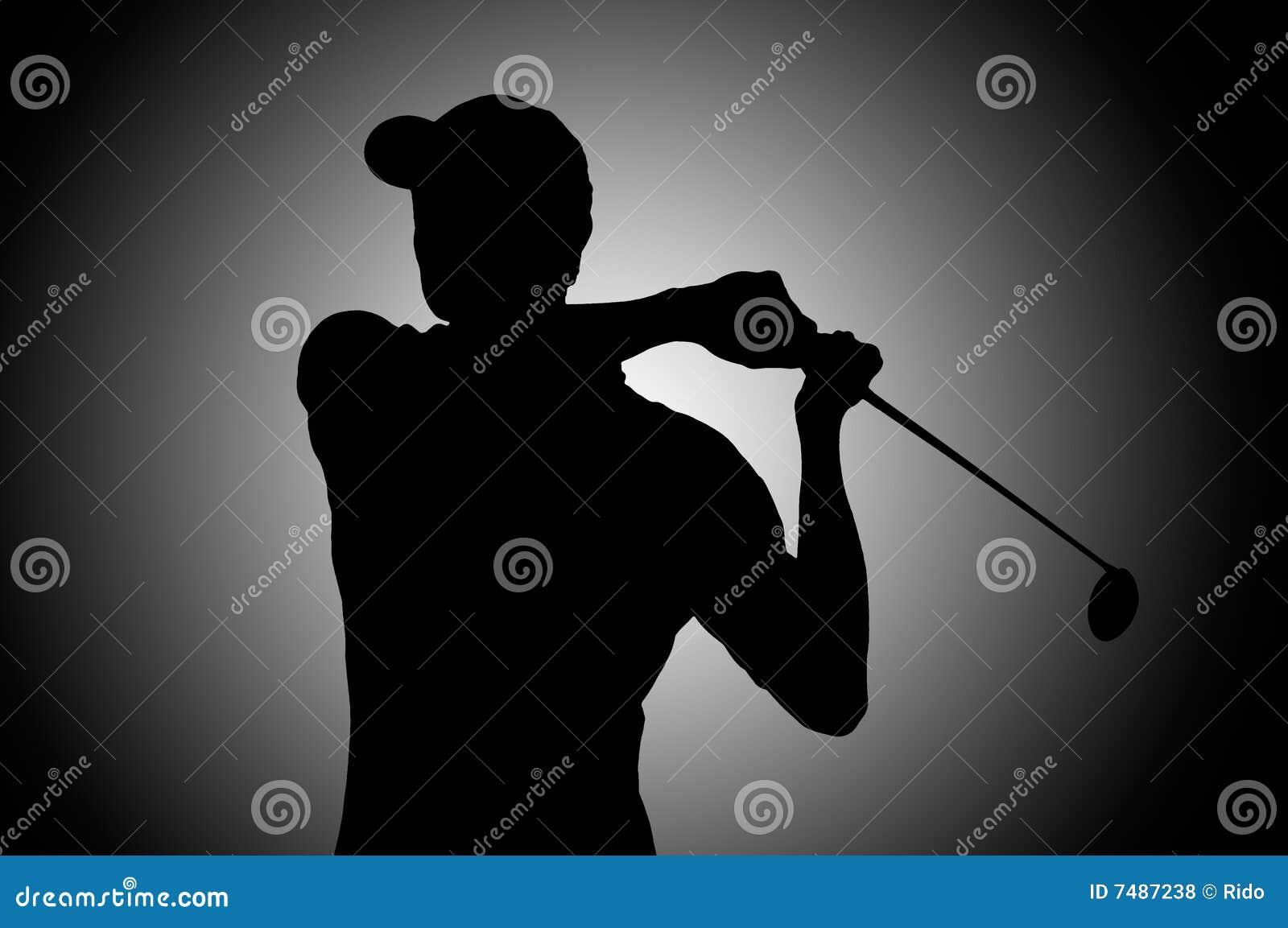 силуэт игрока гольфа