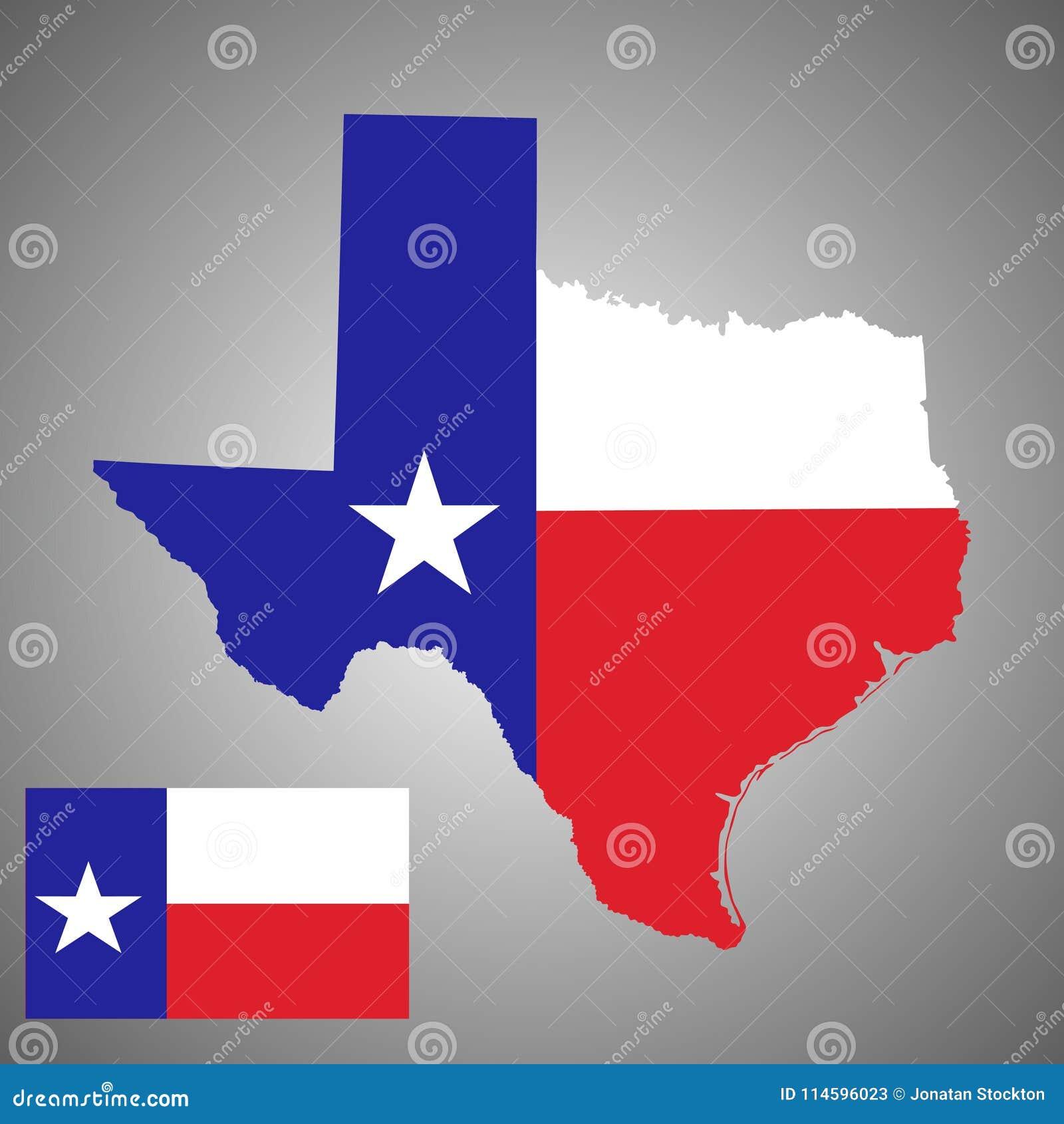 Силуэт карты вектора Техаса и вектор Техаса сигнализируют