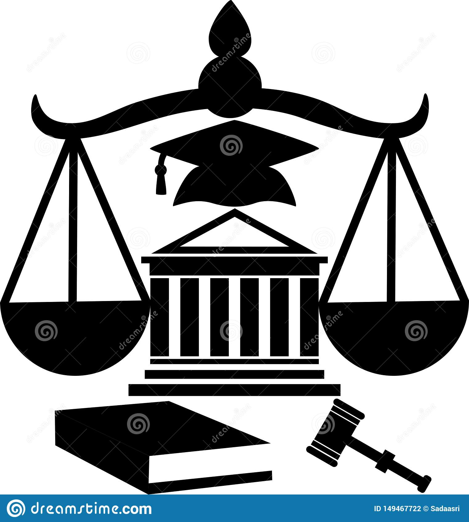 Силуэт помощи здания суда законной