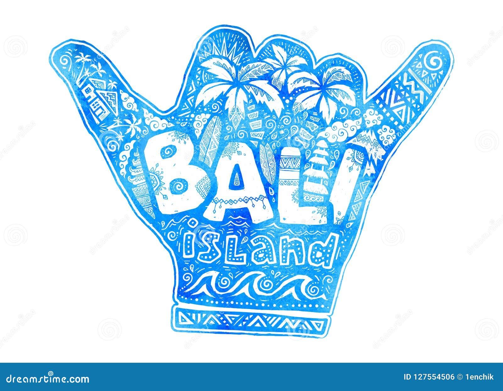 Силуэт руки shaka голубого вида акварели свободный с белым помечая буквами островом Бали внутрь Серфинг стиля doodle вектора