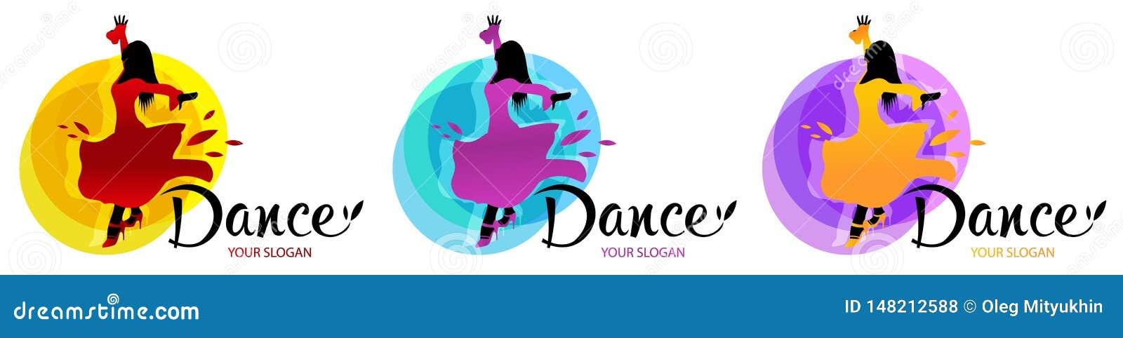 Силуэт танцуя женщины Шаблон дизайнов логотипа танца Элементы значков танца multi покрашенных Простой значок для вебсайтов, des с