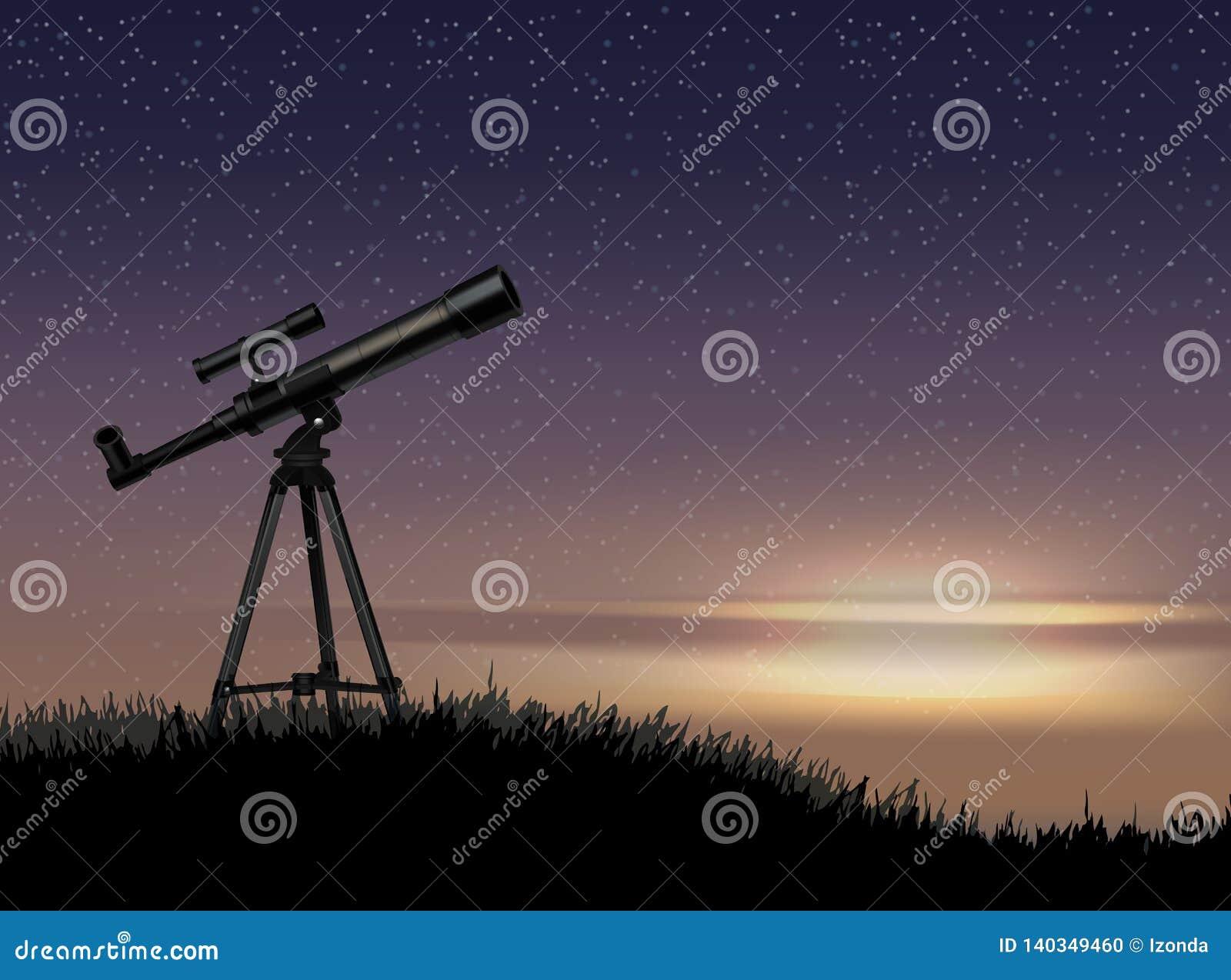 Силуэт телескопа на утесе со звездой на заходе солнца неба
