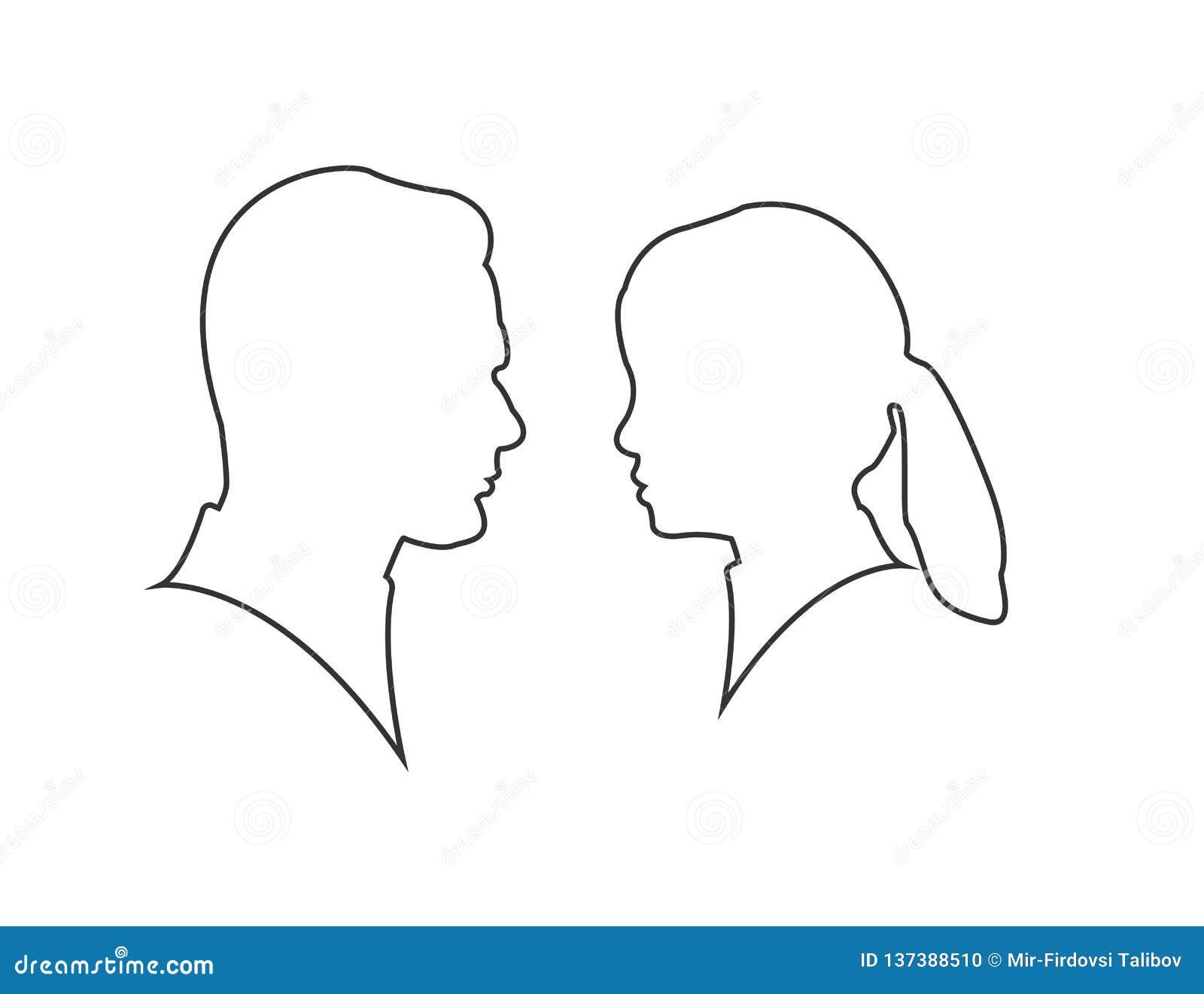 Силуэт человека и женщины лицом к лицу изолированный на белой предпосылке пары силуэта в любов, моменте поцелуя линия вектор