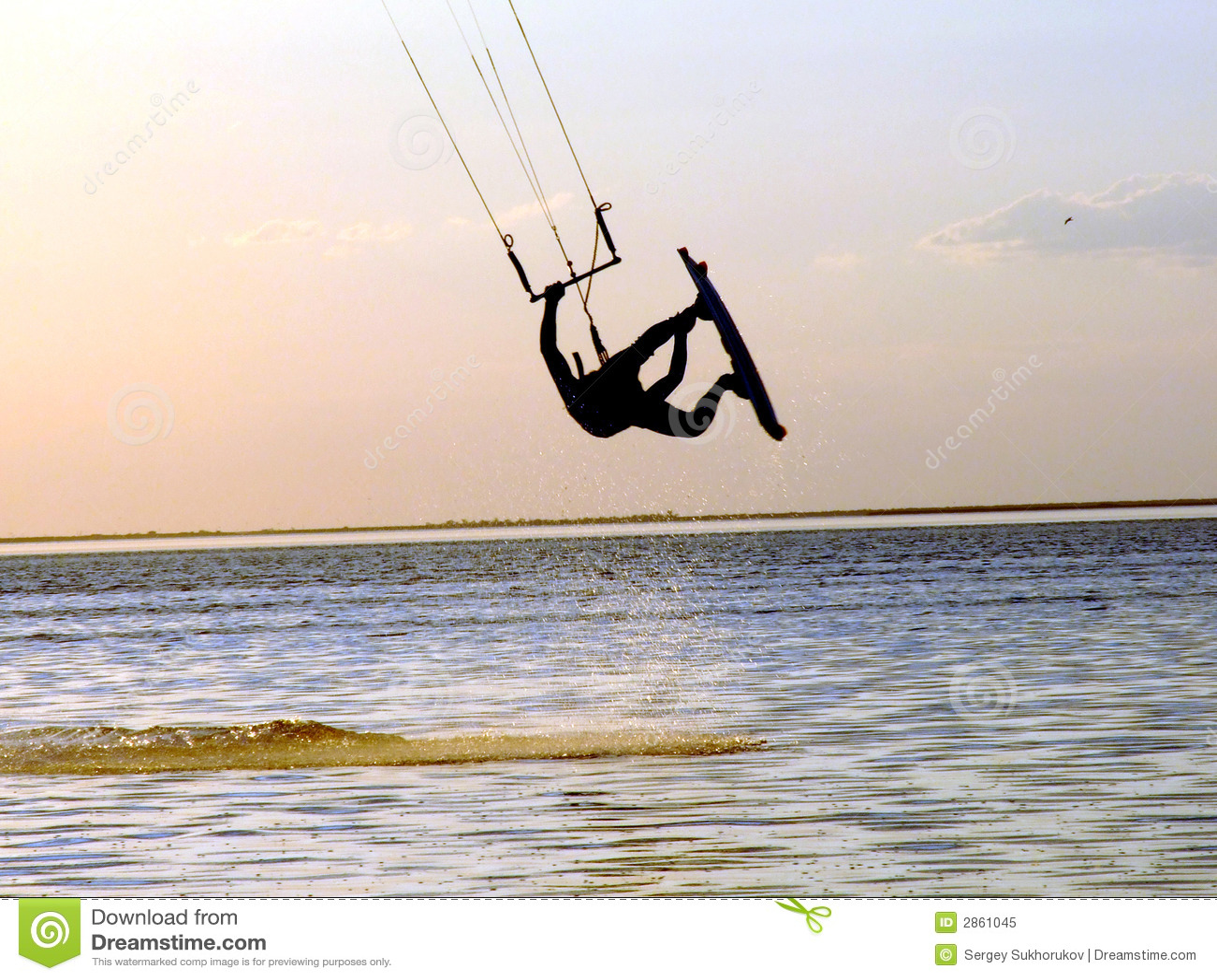 силуэт kitesurf