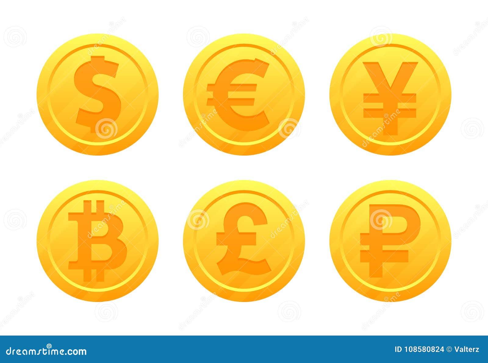 Символы валюты мира в форме золотых монеток с знаками: доллар, евро, фунт, рубль, иена, bitcoin, юань