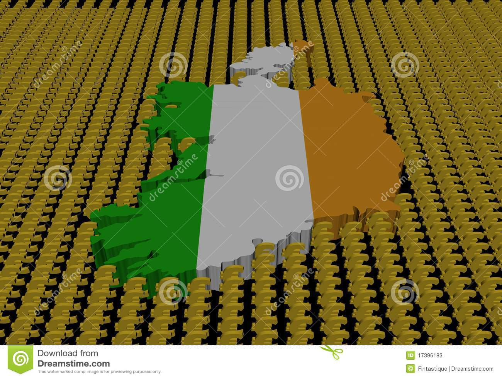 символы карты Ирландии флага евро