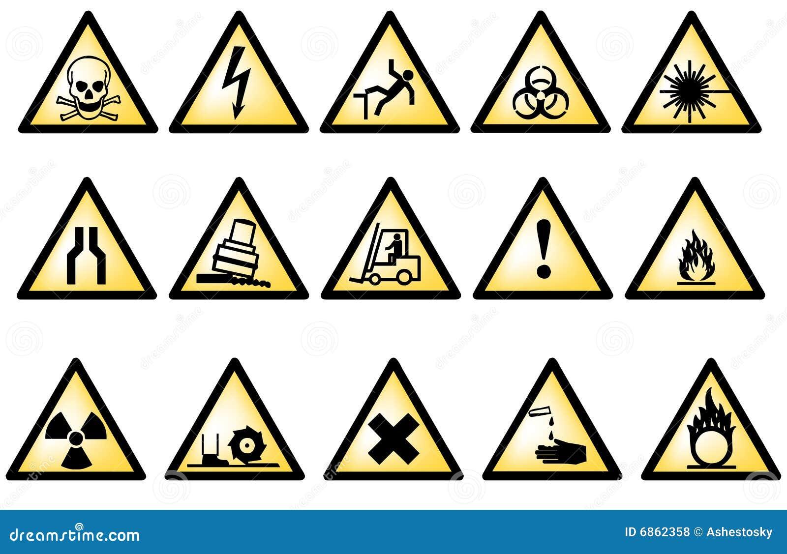 символы опасности векториальные